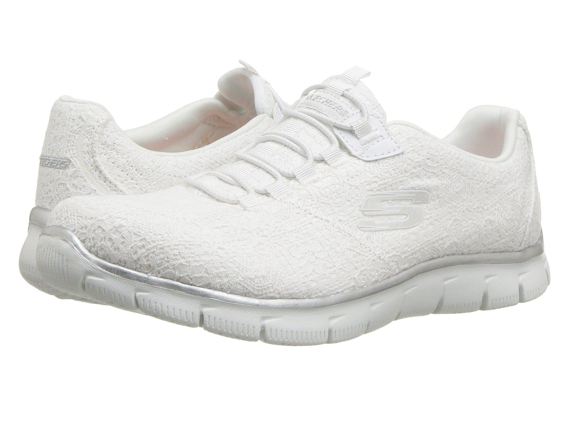 5da8979d1e1f Lyst - Skechers Empire - Spring Glow (white Silver) Women s Lace Up ...
