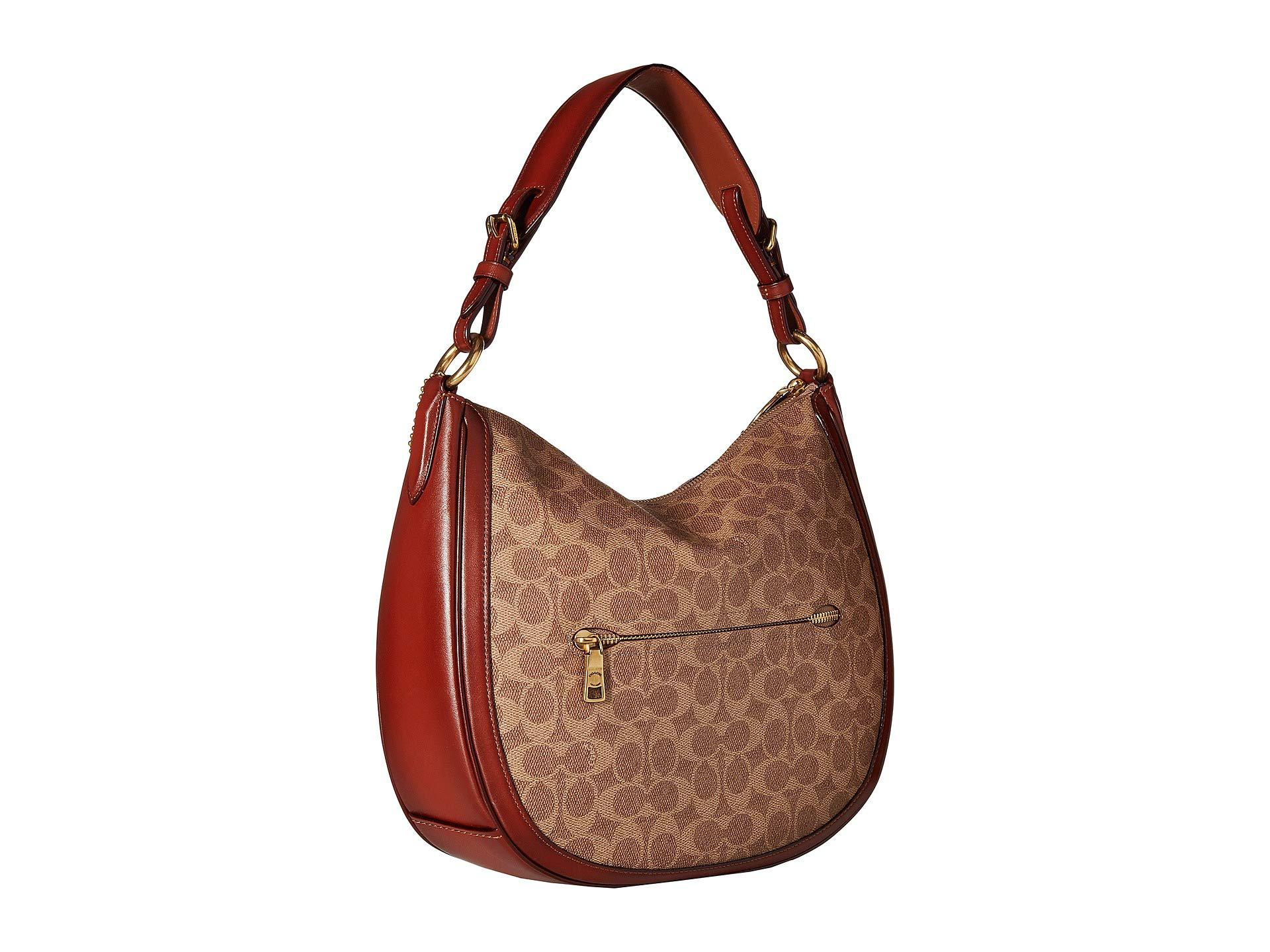 dd20929fd41a COACH - Brown Coated Canvas Signature Sutton Hobo (gold charcoal Midnight  Navy) Hobo. View fullscreen