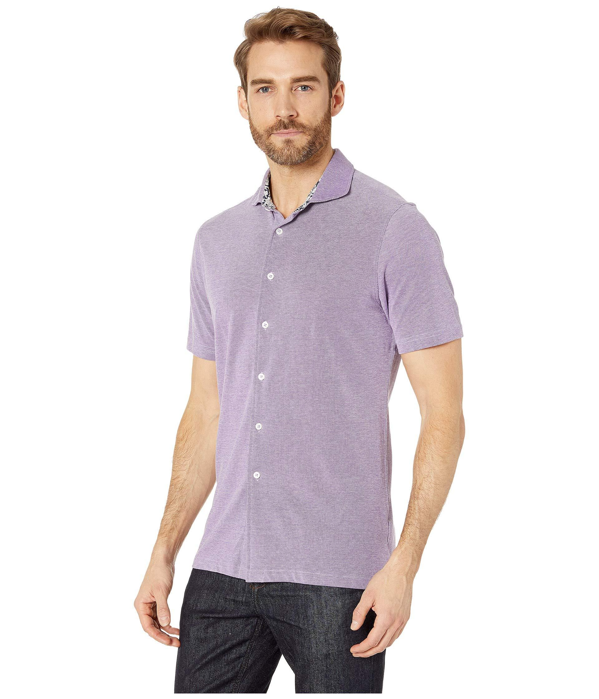 43f2a7992ba87 Lyst - Bugatchi Julian Short Sleeve Button-up Shirt (mint) Men s Short  Sleeve Button Up in Purple for Men
