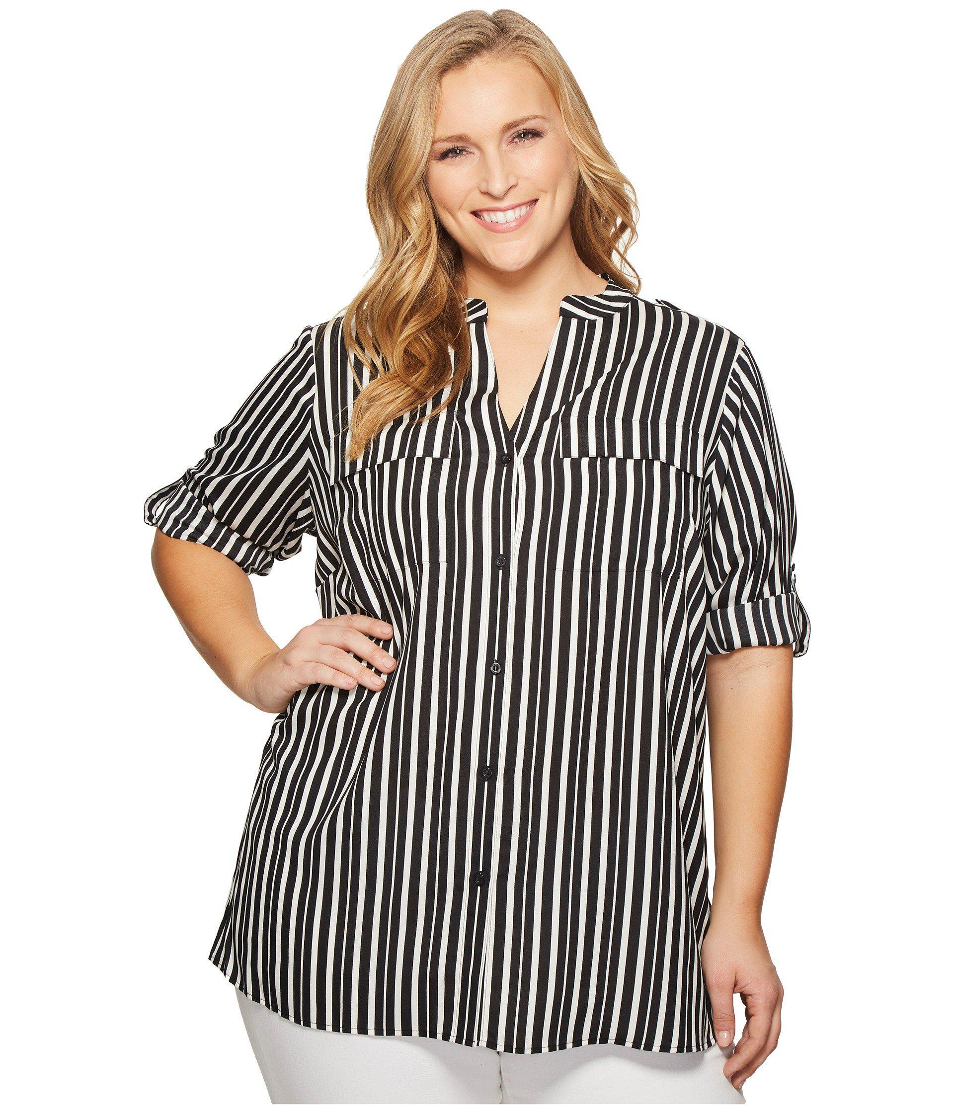 a954d67d9cd Calvin Klein Roll Sleeve Blouse Plus Size