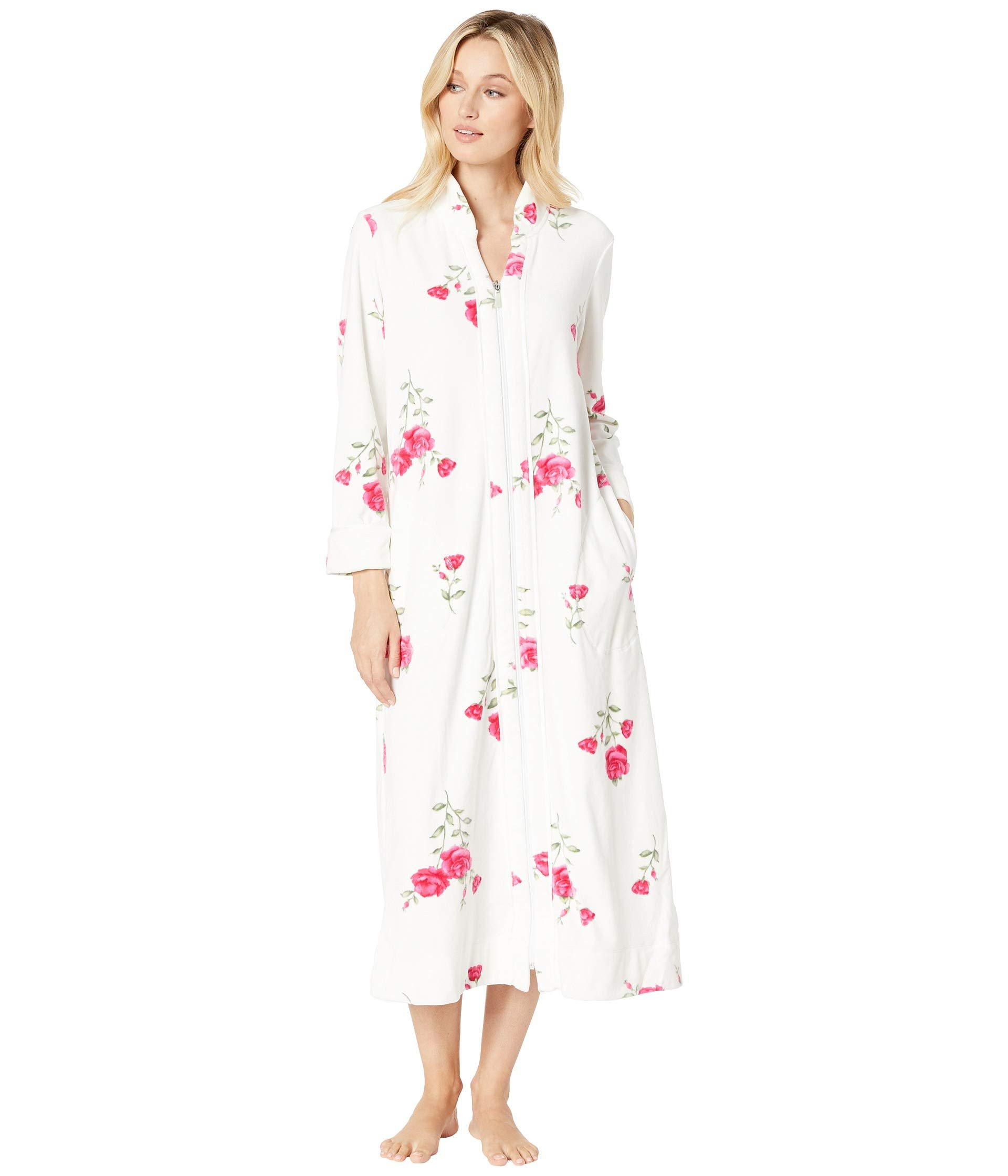 aac48a6081 Lyst - Carole Hochman Plush Luxe Velour Long Zip Robe (roses ...