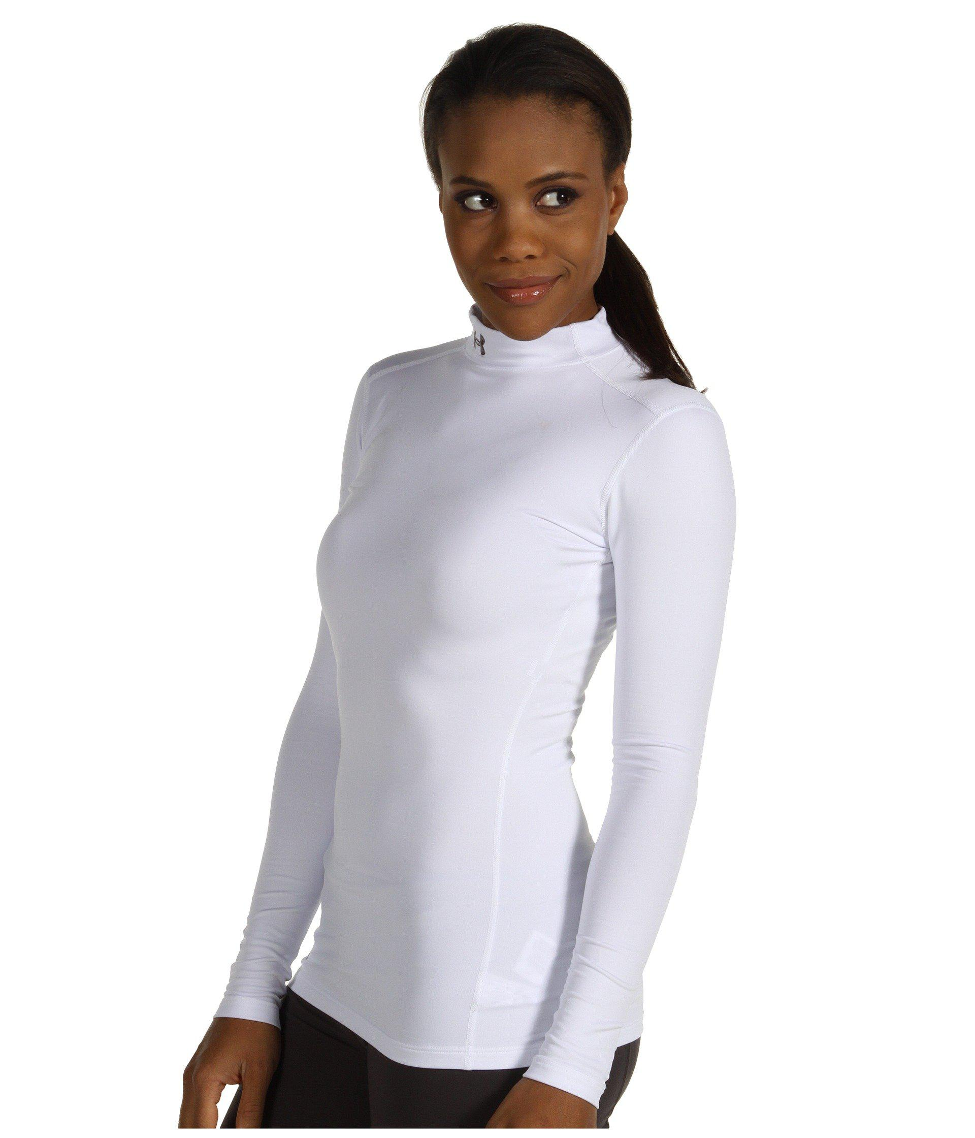 825030e6d Under Armour Coldgear® Fitted L/s Mock in White - Lyst