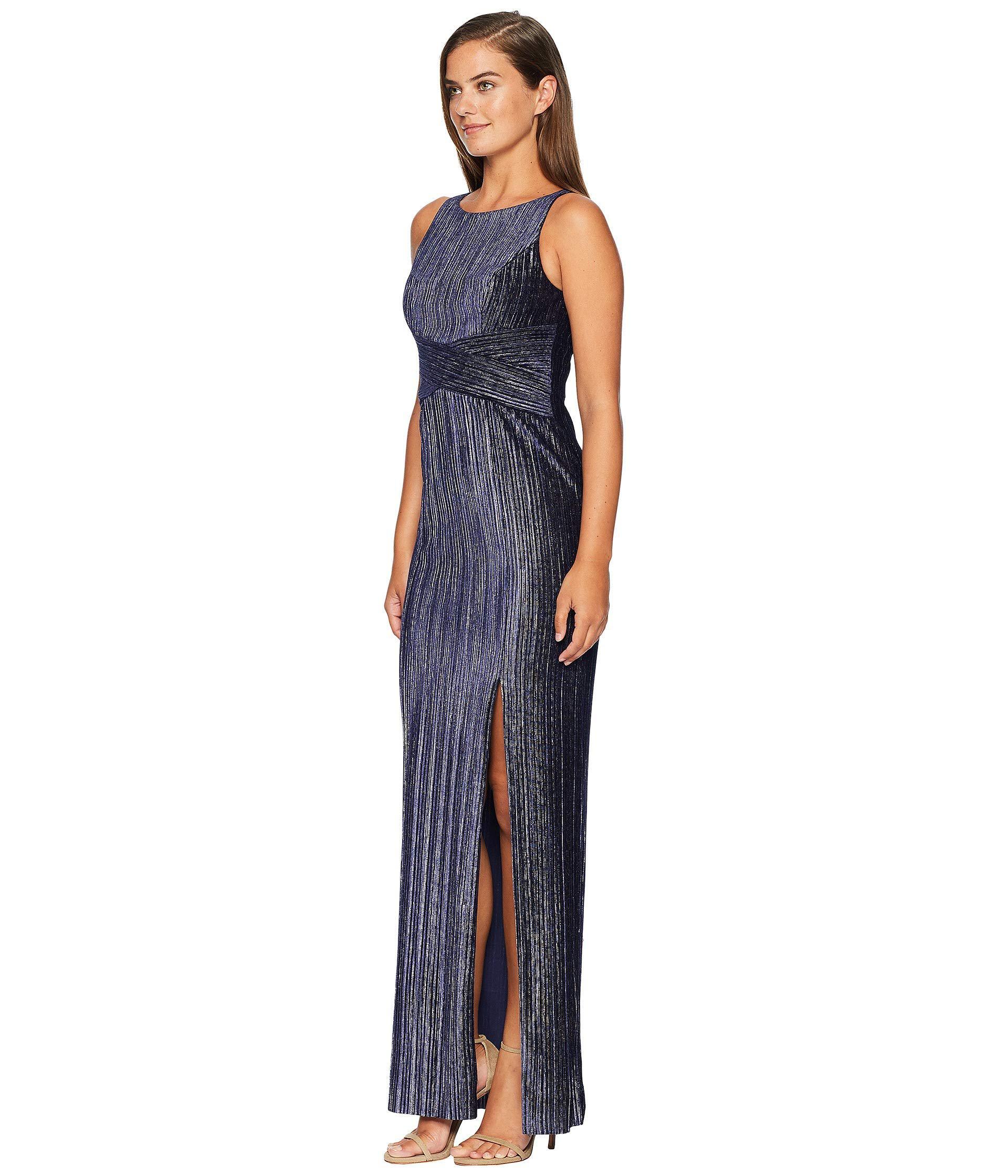 3a2457775201 Adrianna Papell Pleat Velvet Column Dress (navy) Women's Dress in Blue -  Lyst