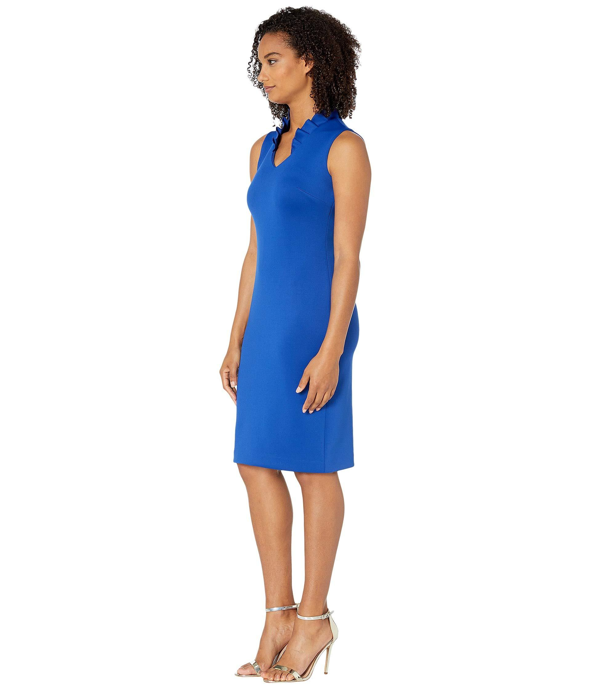0a1ae79b Lyst - Calvin Klein Ruffle Neck Sheath Dress (black) Women's Dress in Blue