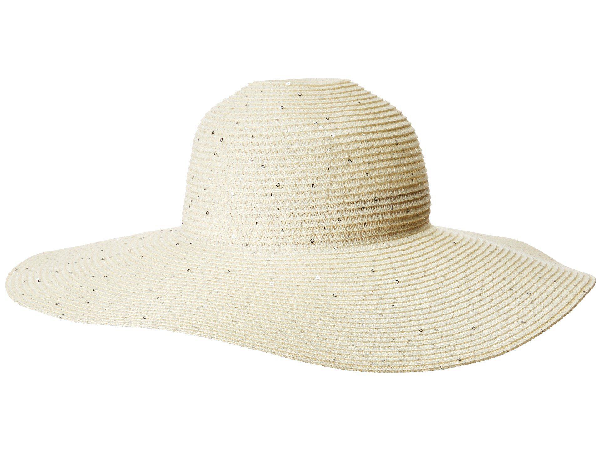 b7617090ea8 Lyst - Calvin Klein Sequin Straw Sunhat (ivory) Caps in White
