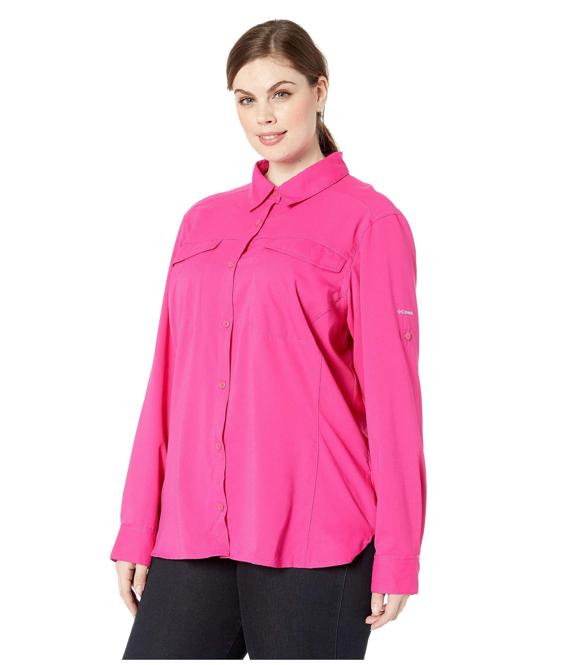 8fedd55bfe4 Lyst - Columbia Plus Size Silver Ridge Lite Long Sleeve Shirt (haute Pink) Women's  Long Sleeve Button Up in Pink