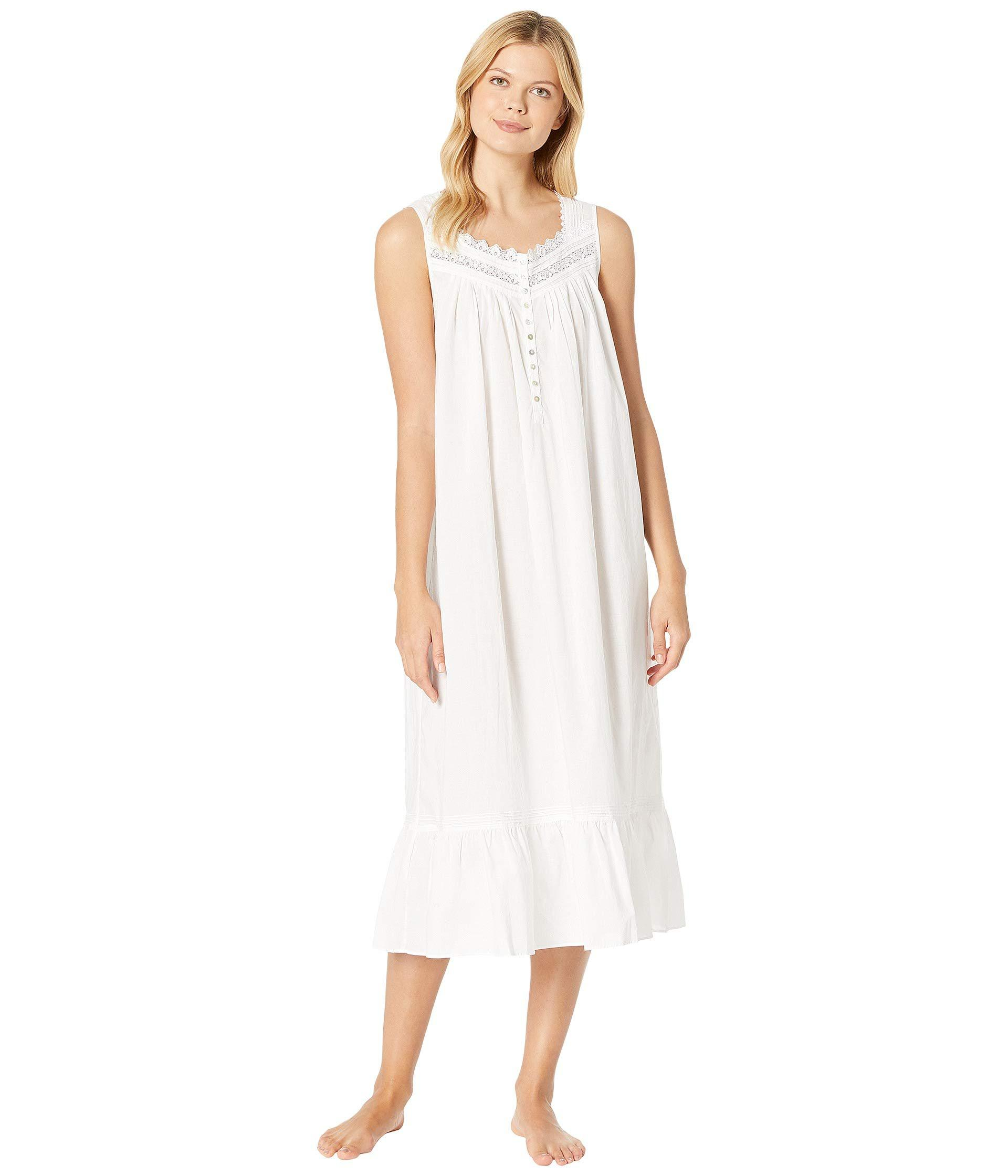 Lyst - Eileen West Cotton Lawn Ballet Nightgown (white Ground viney ... 28f94fba4