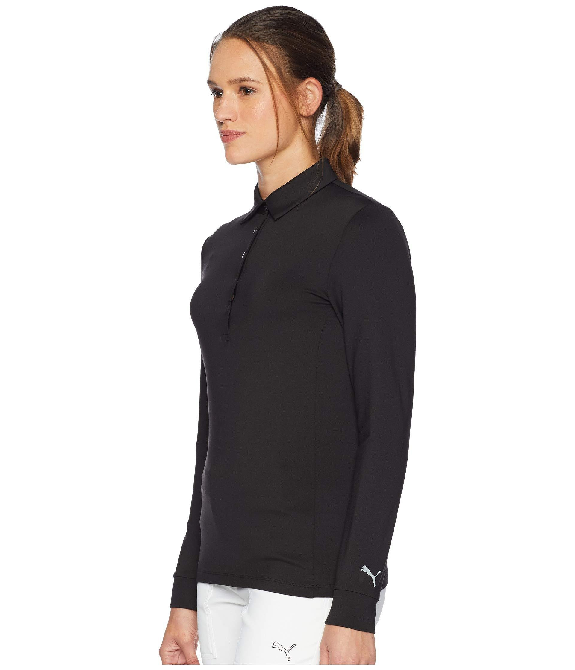7868276e14d Lyst - PUMA Long Sleeve Polo (black) Women's Long Sleeve Pullover in Black
