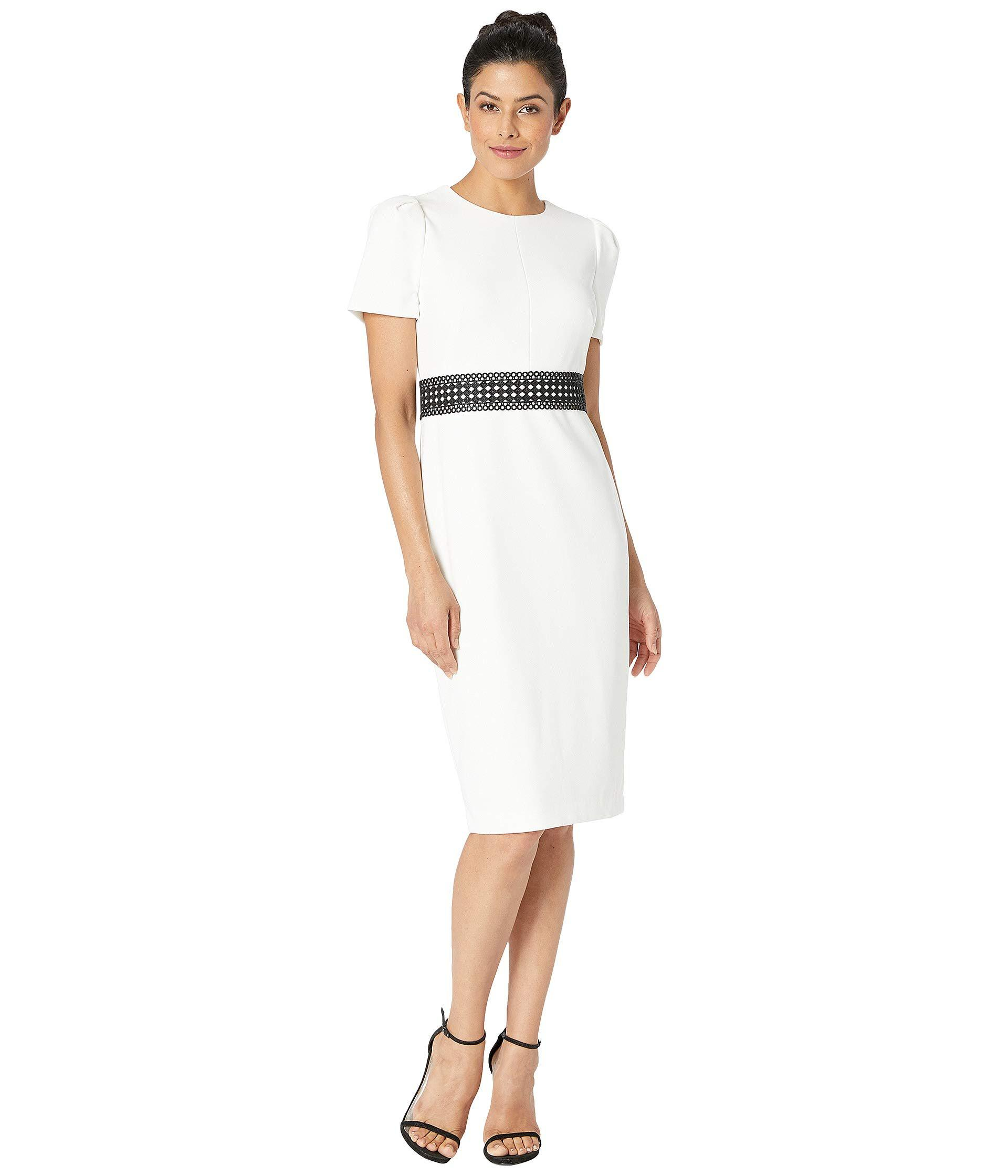 ac666dcac9d9b1 Lyst - Calvin Klein Short Sleeve Midi Dress With Trim At Waist ...