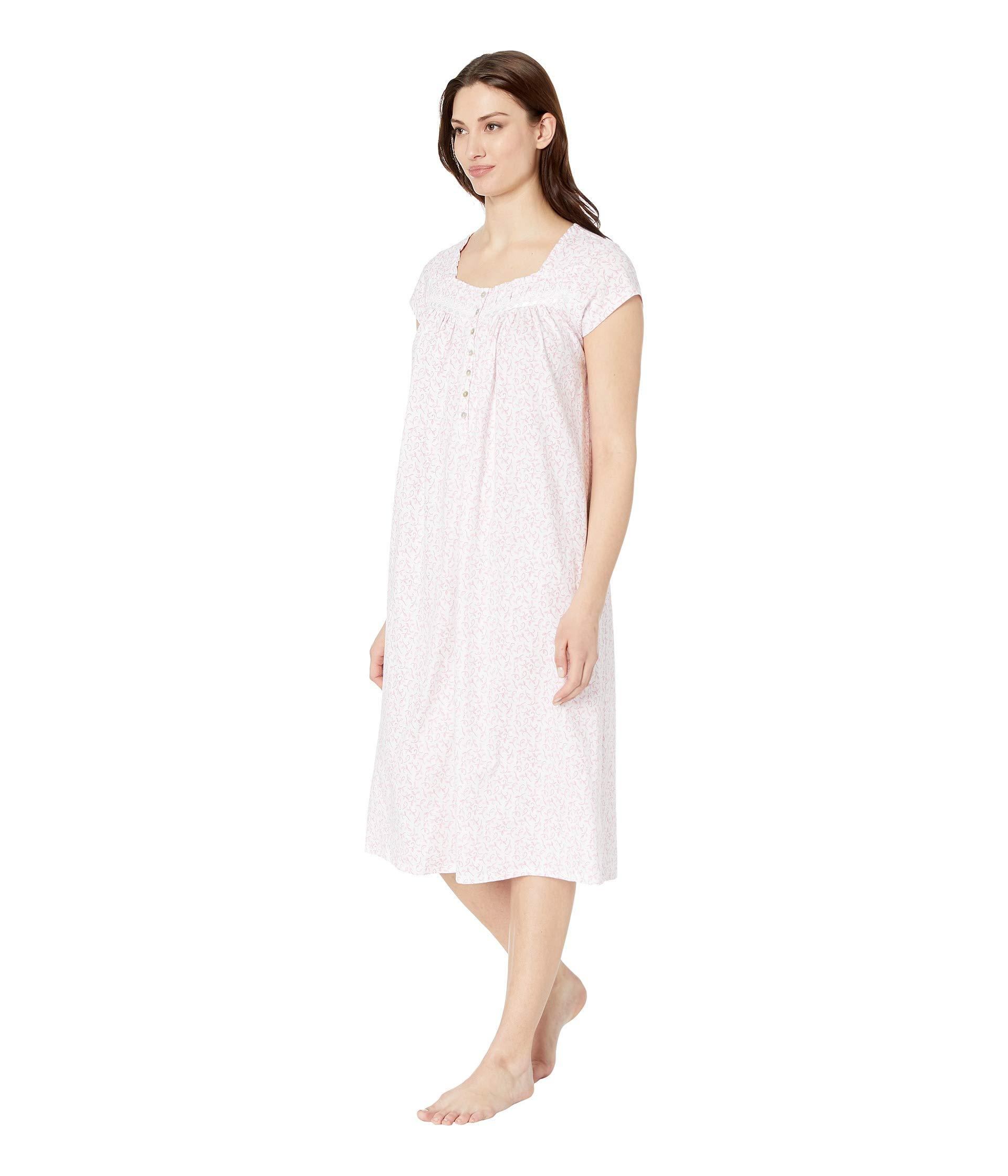 d2526ed082 Lyst - Eileen West Cotton Jersey Ballet Nightgown (white Rose Leaf Print) Women s  Pajama in White