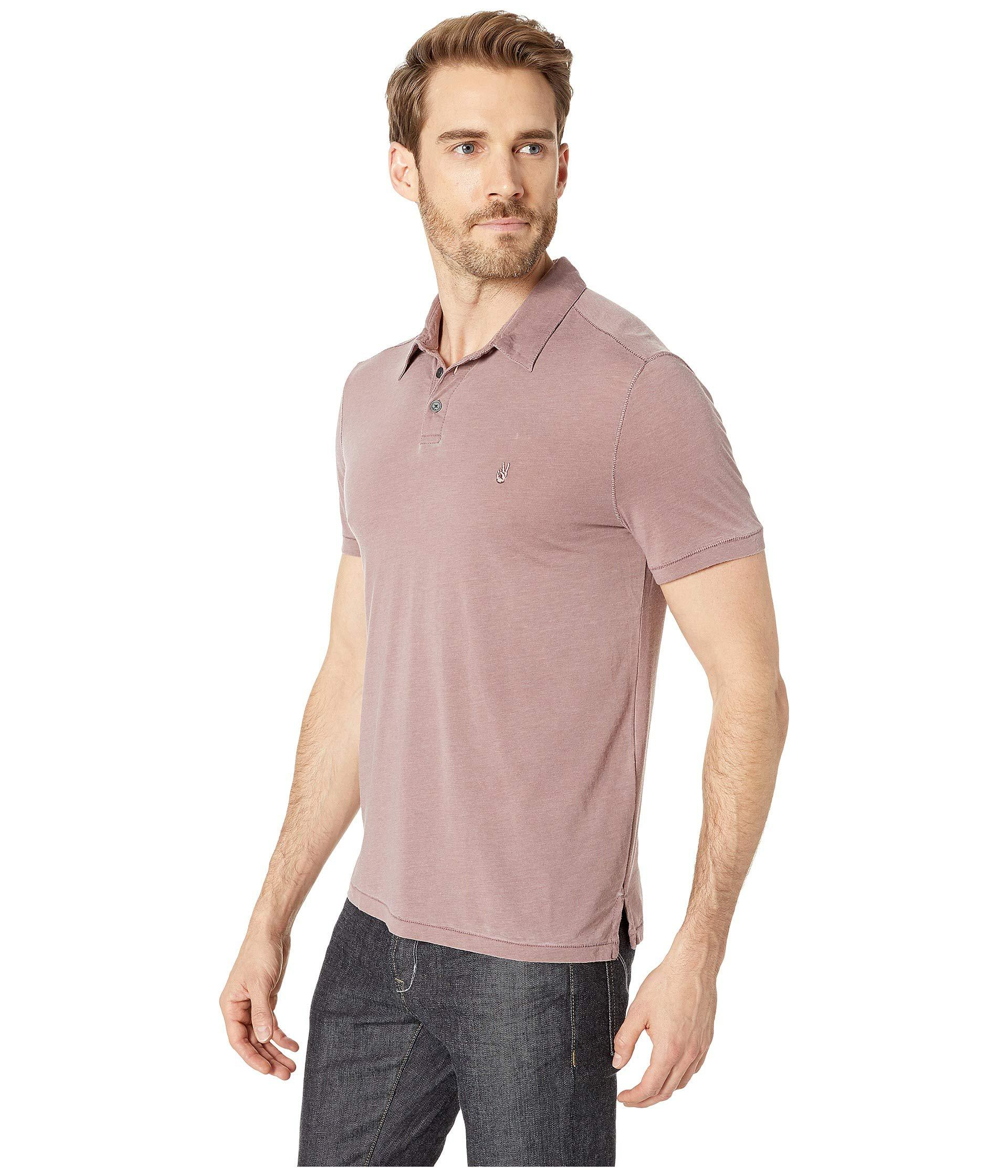 8dec29a1 Lyst - John Varvatos Short Sleeve Burnout Polo With Peace Sign (charcoal  Heather) Men's Clothing in Purple for Men