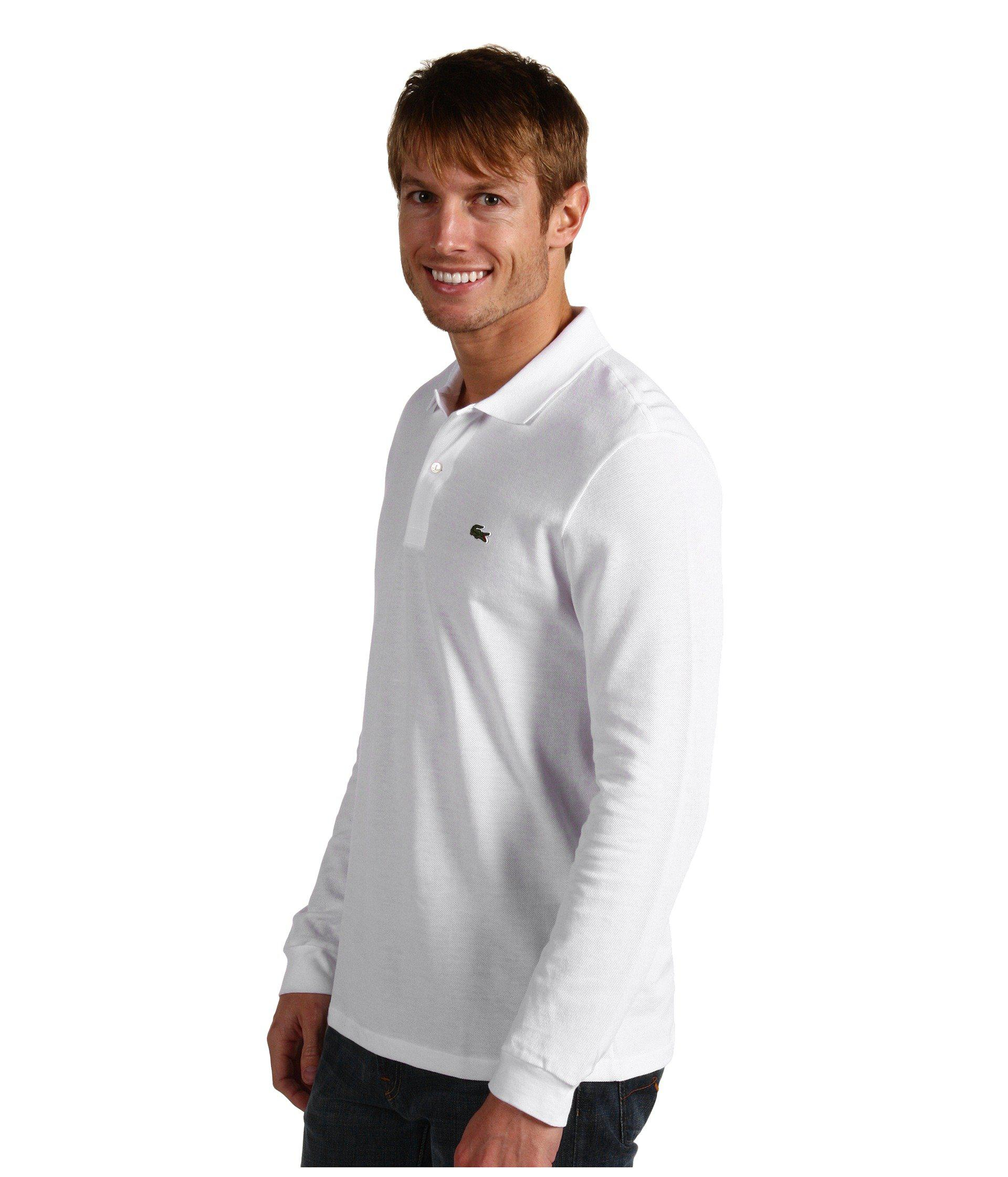 9ceff4df19b2c Lyst lacoste long sleeve classic pique polo shirt bordeaux men long sleeve  pullover in white for
