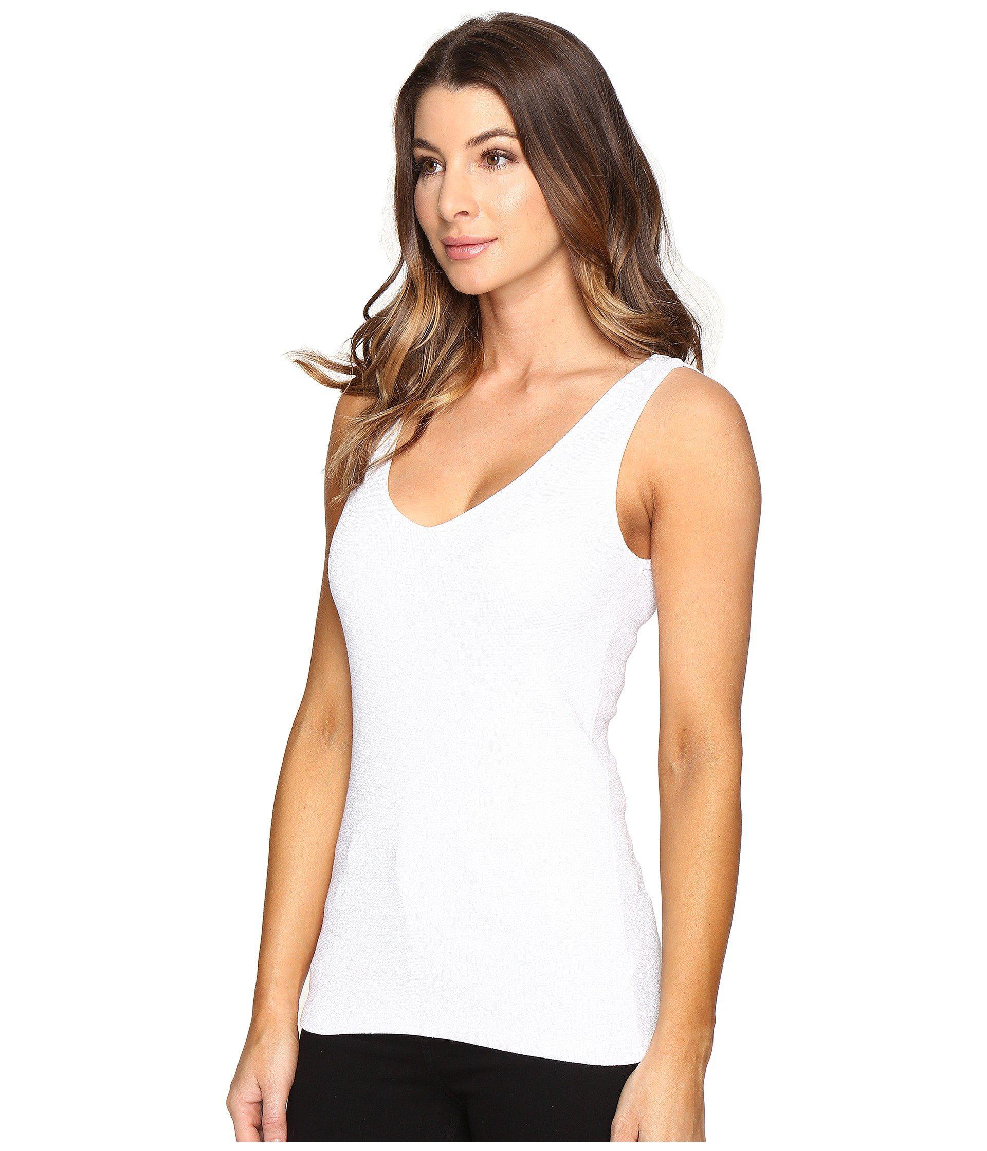 0daf0120d05ff Lyst - Michael Stars Shine Double Front V-neck Tank Top (black) Women s  Sleeveless in White
