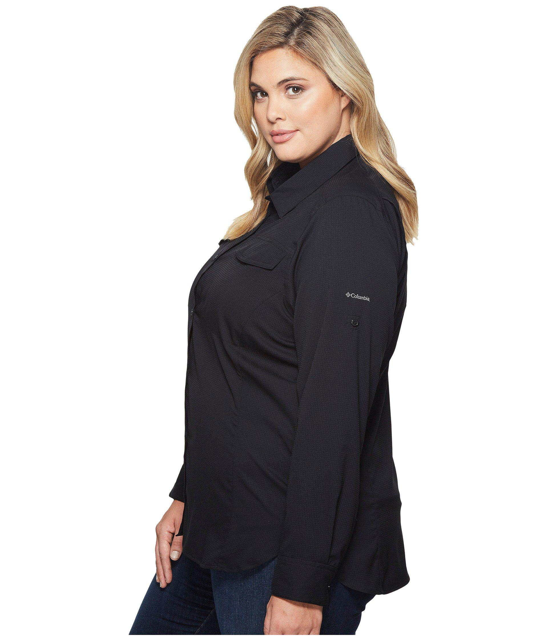 2ffede9a291 Lyst - Columbia Plus Size Silver Ridge Lite Long Sleeve Shirt (white) Women s  Long Sleeve Button Up in Black