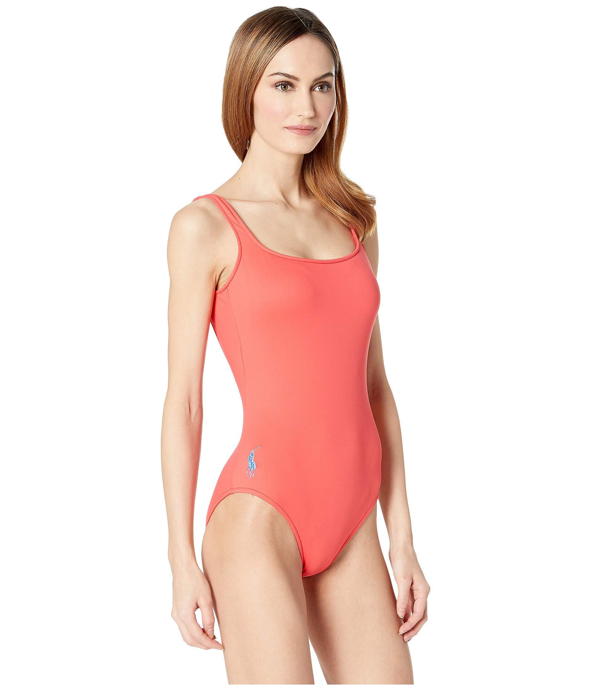 a7e6a5bed191c Lyst - Polo Ralph Lauren Modern Solid Martinique One-piece (pool) Women s  Swimsuits One Piece in Red