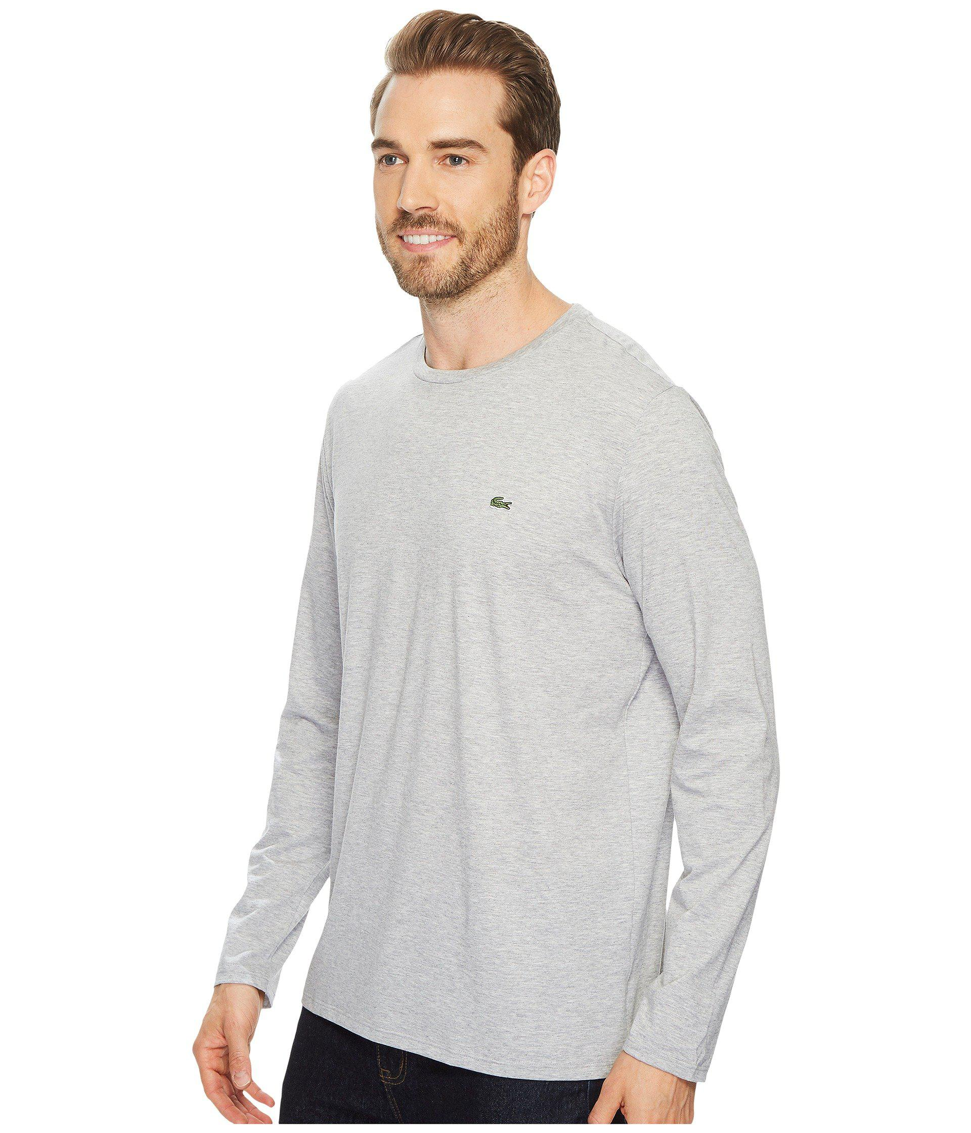e941ca18 Lyst - Lacoste Long Sleeve Pima Jersey Crew Neck T-shirt (silver Chine) Men's  T Shirt in Gray for Men