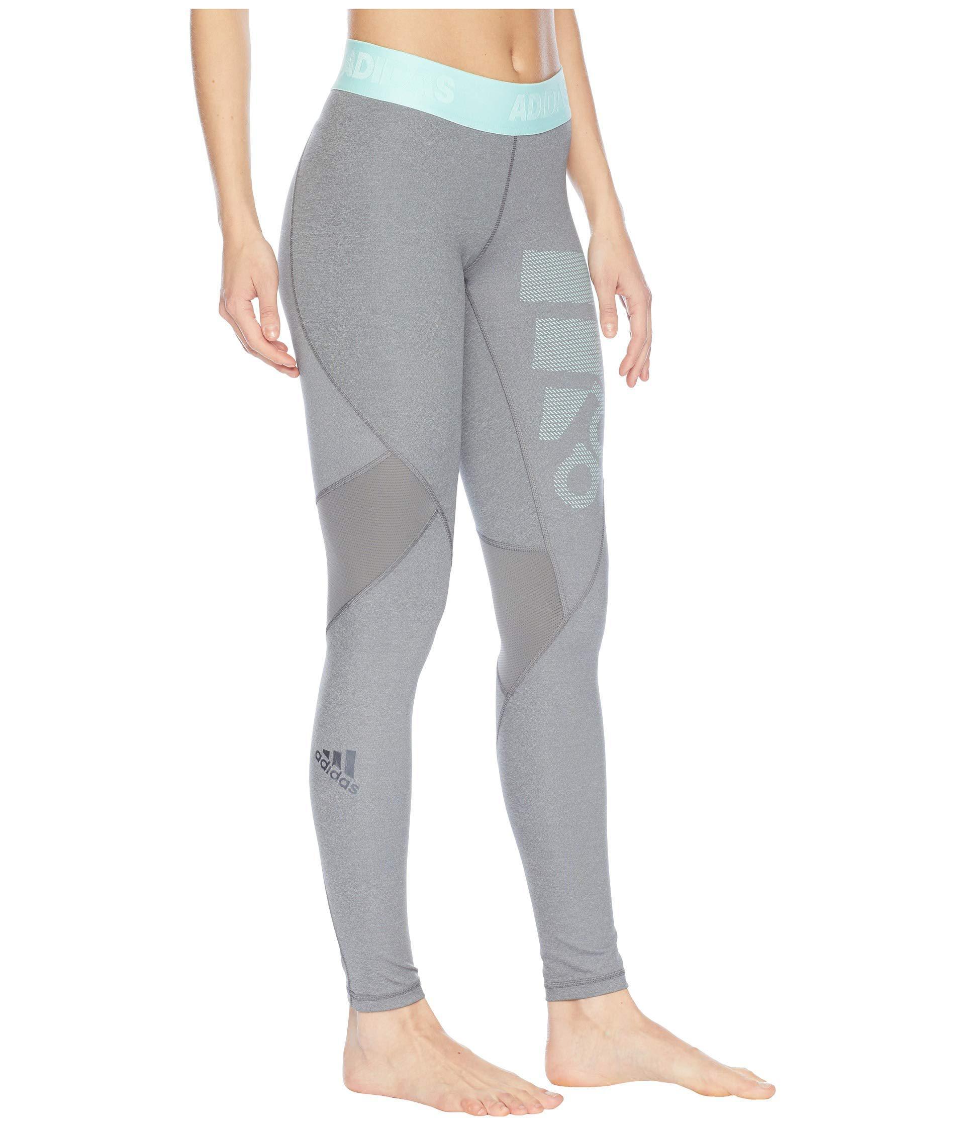 Lyst - adidas Alphaskin Sport Long Logo Tights (dark Grey Heather ... e00b1010d2c
