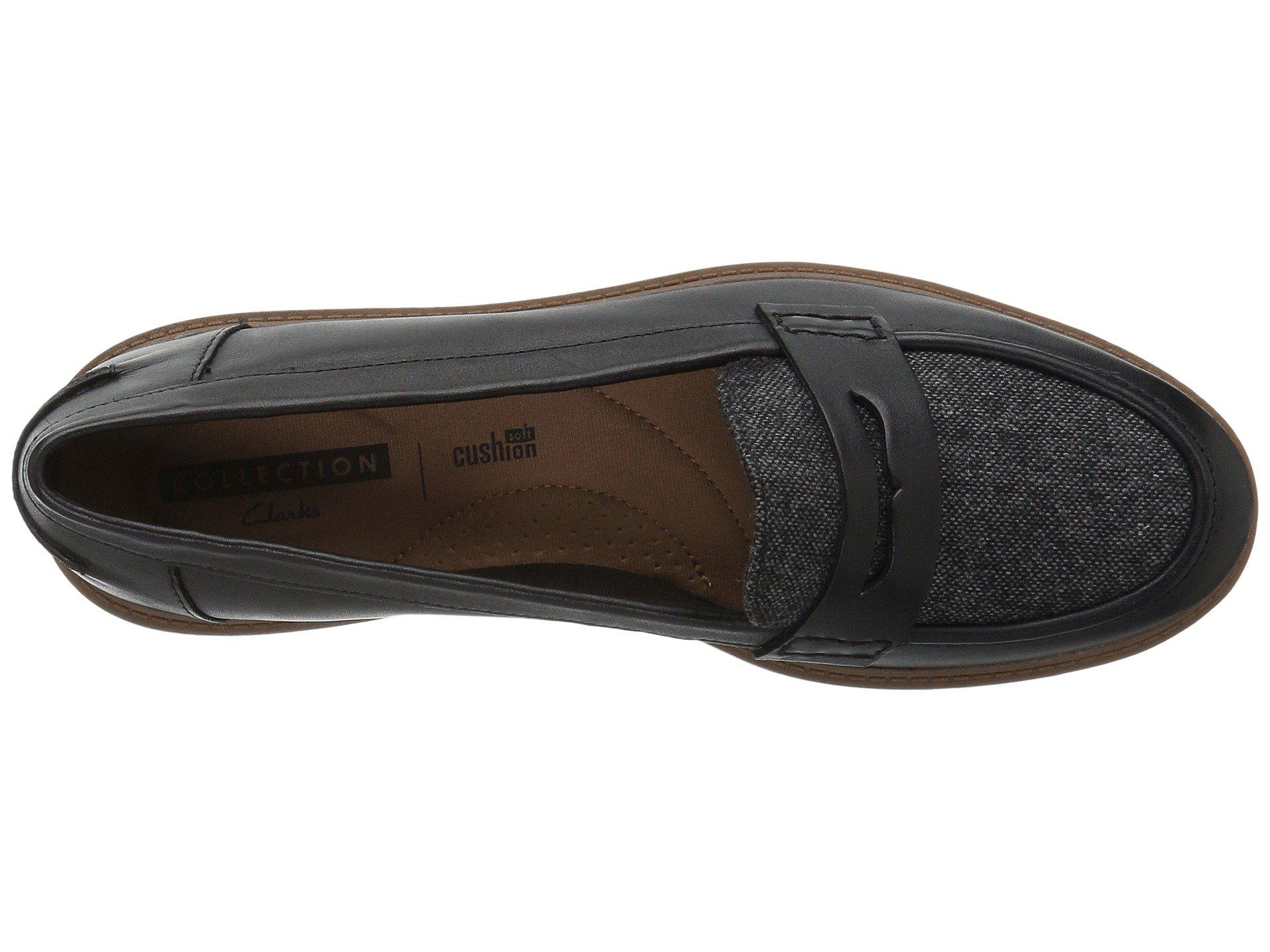 8988cefe4f0 Clarks - Raisie Eletta (black Leather) Women s Slip On Shoes - Lyst. View  fullscreen