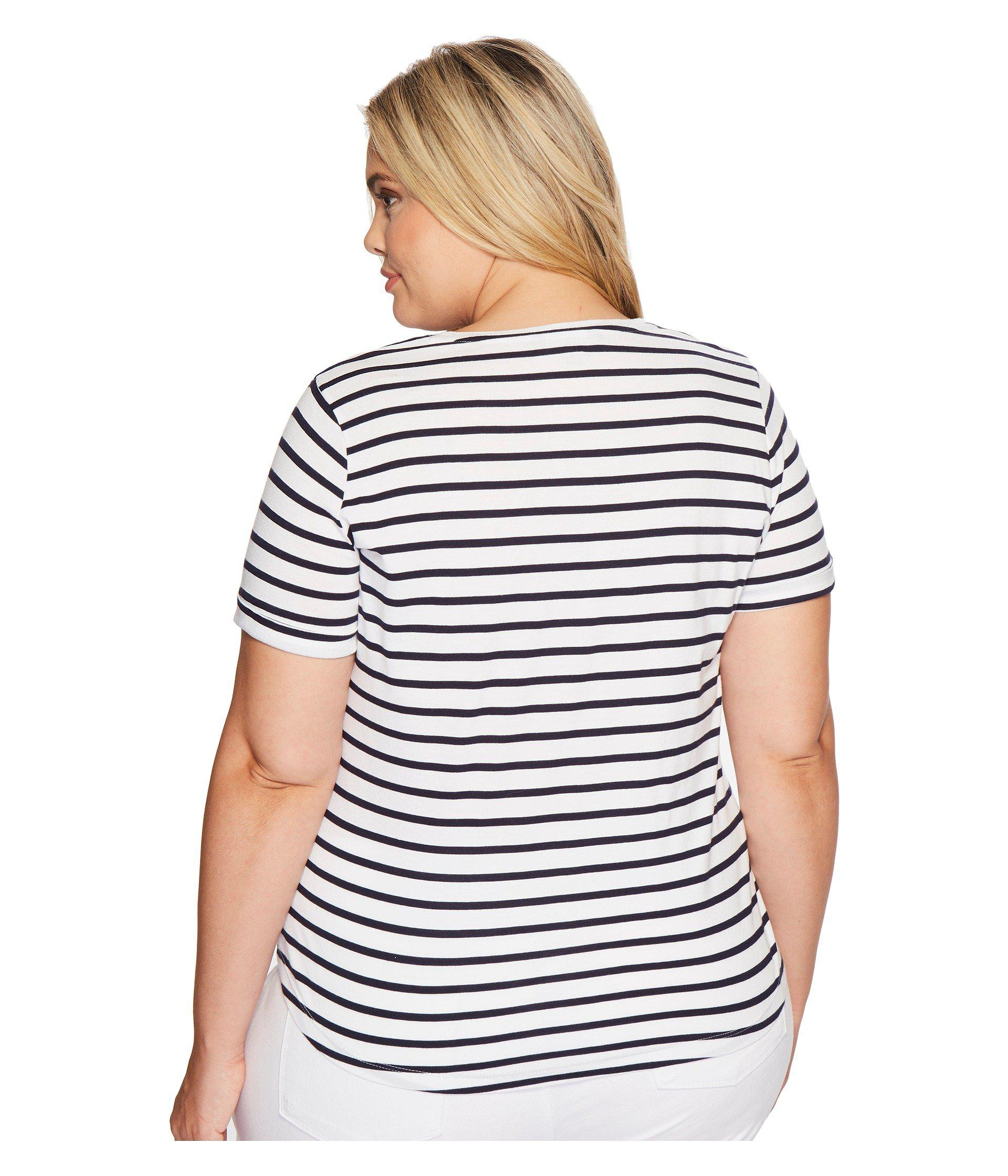 5214f85d84630 Lyst - Lauren by Ralph Lauren Plus Size Bullion-patch Striped T ...