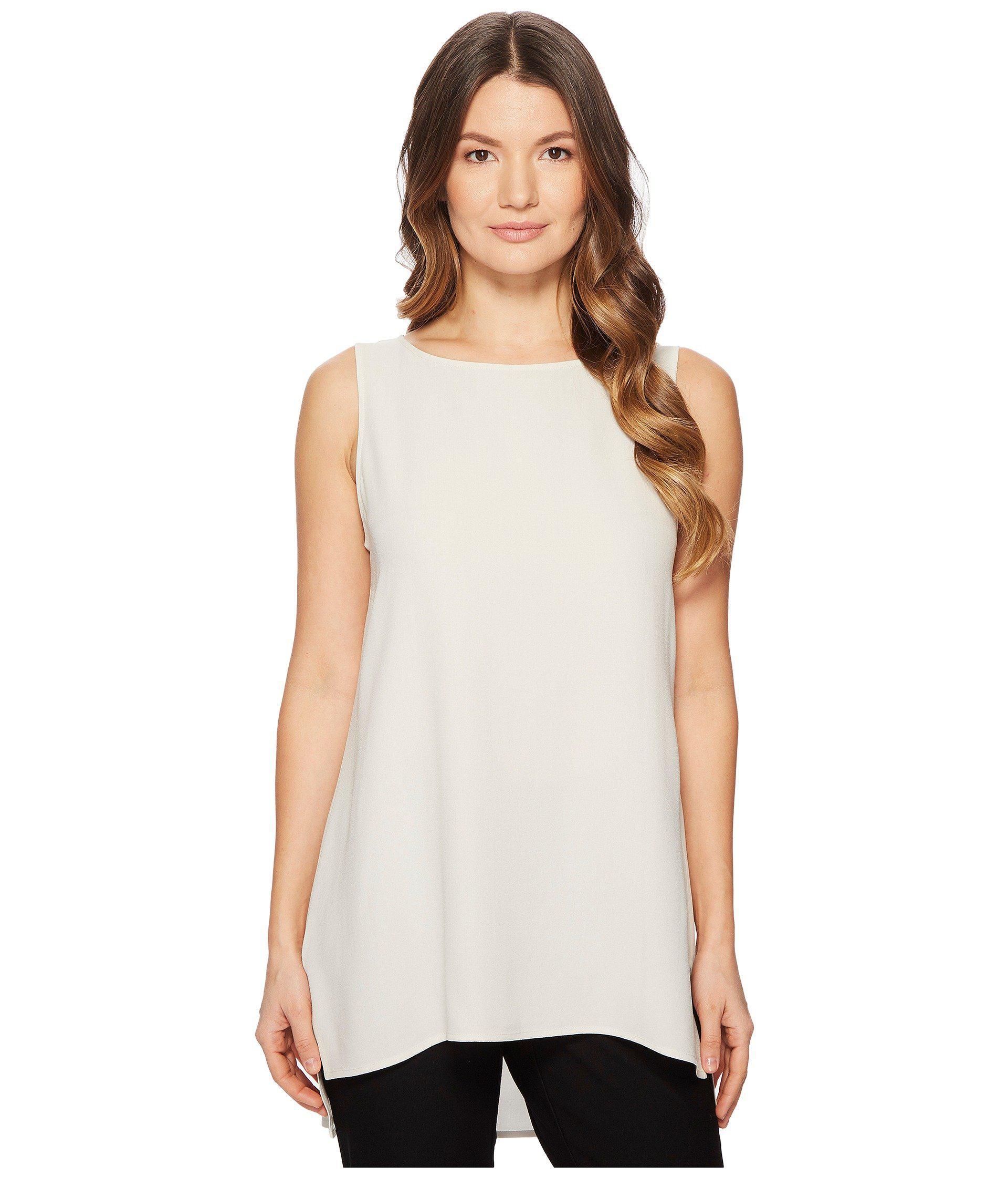 4eef9a40e05eb6 Lyst - Eileen Fisher Bateau Neck Long Shell (bone Silk Georgette Crepe)  Women s Clothing in White