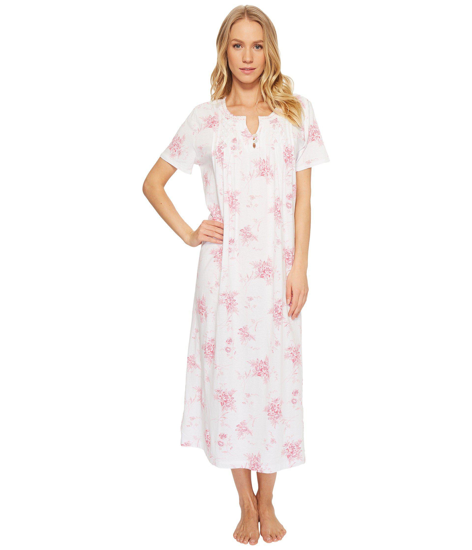 Lyst - Carole hochman Short Sleeve Long Gown