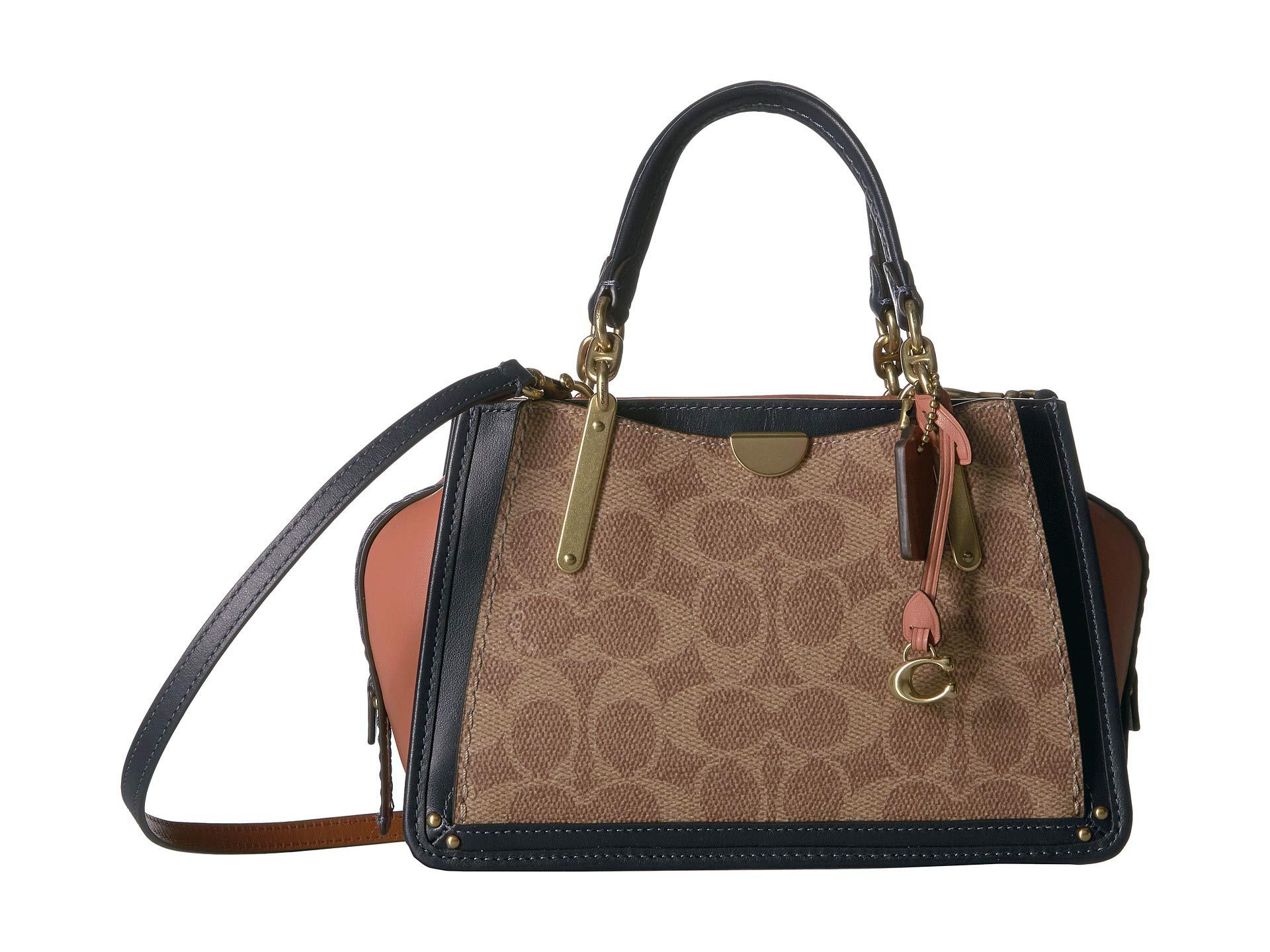 347795253 COACH - Brown Coated Canvas Signature Color Block Dreamer 21 (tan/ink Light  Peach. View fullscreen