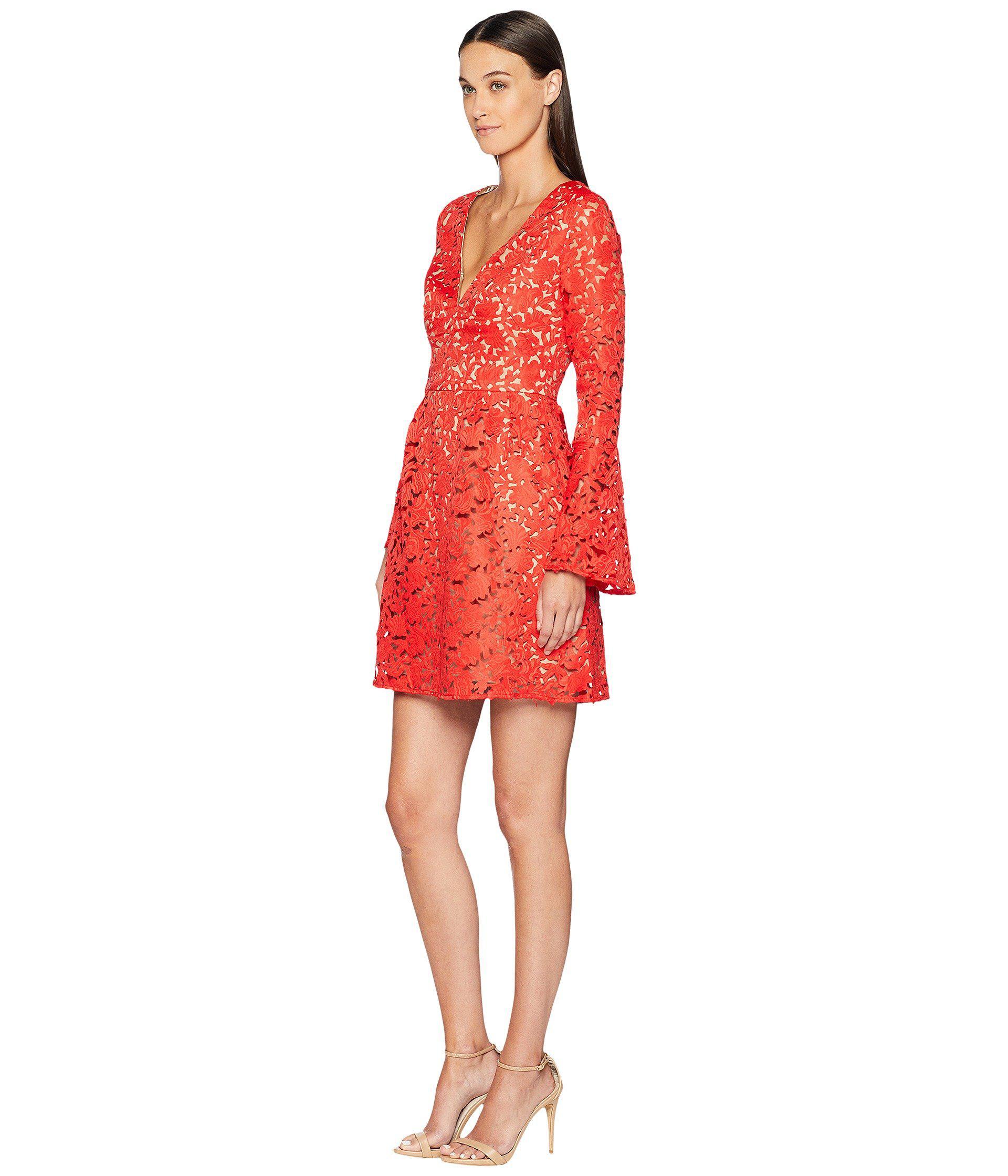 e4fd2ec79c8 ML Monique Lhuillier Laser Cut Bell Sleeve Dress (sangria) Women s Dress in  Red - Lyst