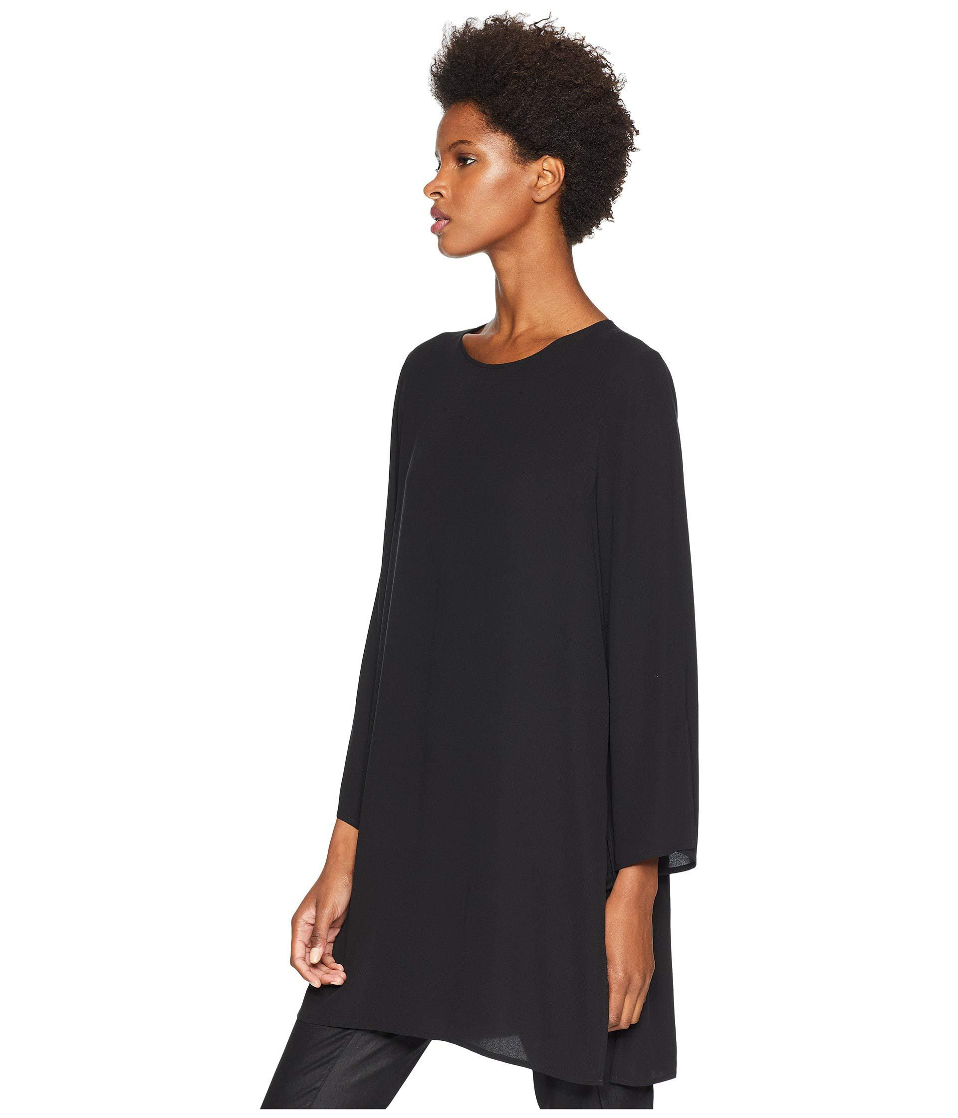 de9042fb492436 Lyst - Eileen Fisher Silk Georgette Crepe Round Neck Tunic With Side Slits  (black) Women s Clothing in Black