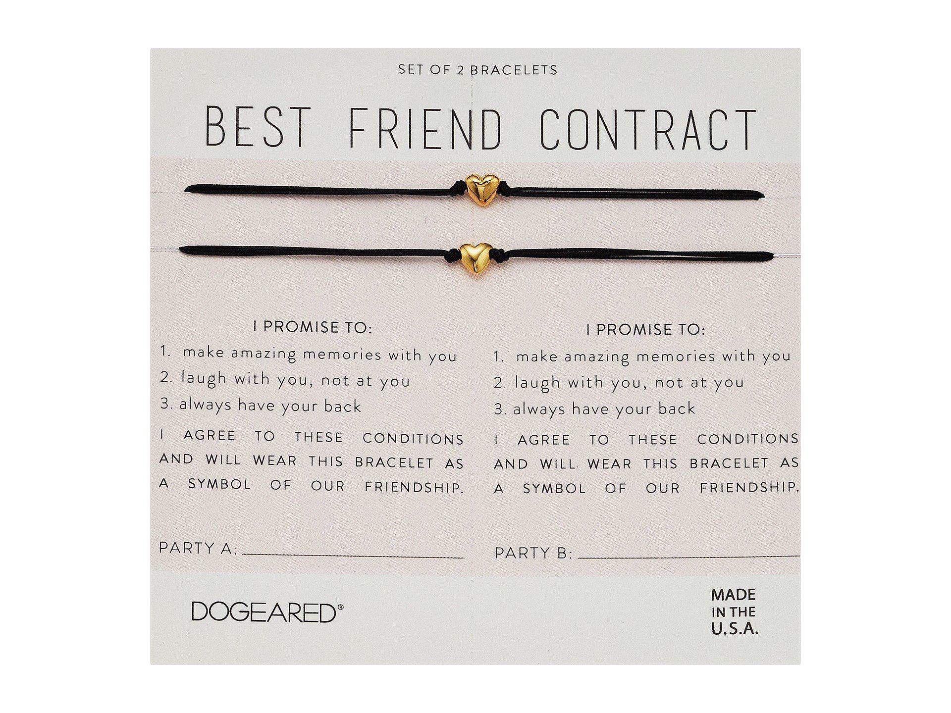 Lyst dogeared best friend contract set of 2 heart bracelets in gallery altavistaventures Image collections