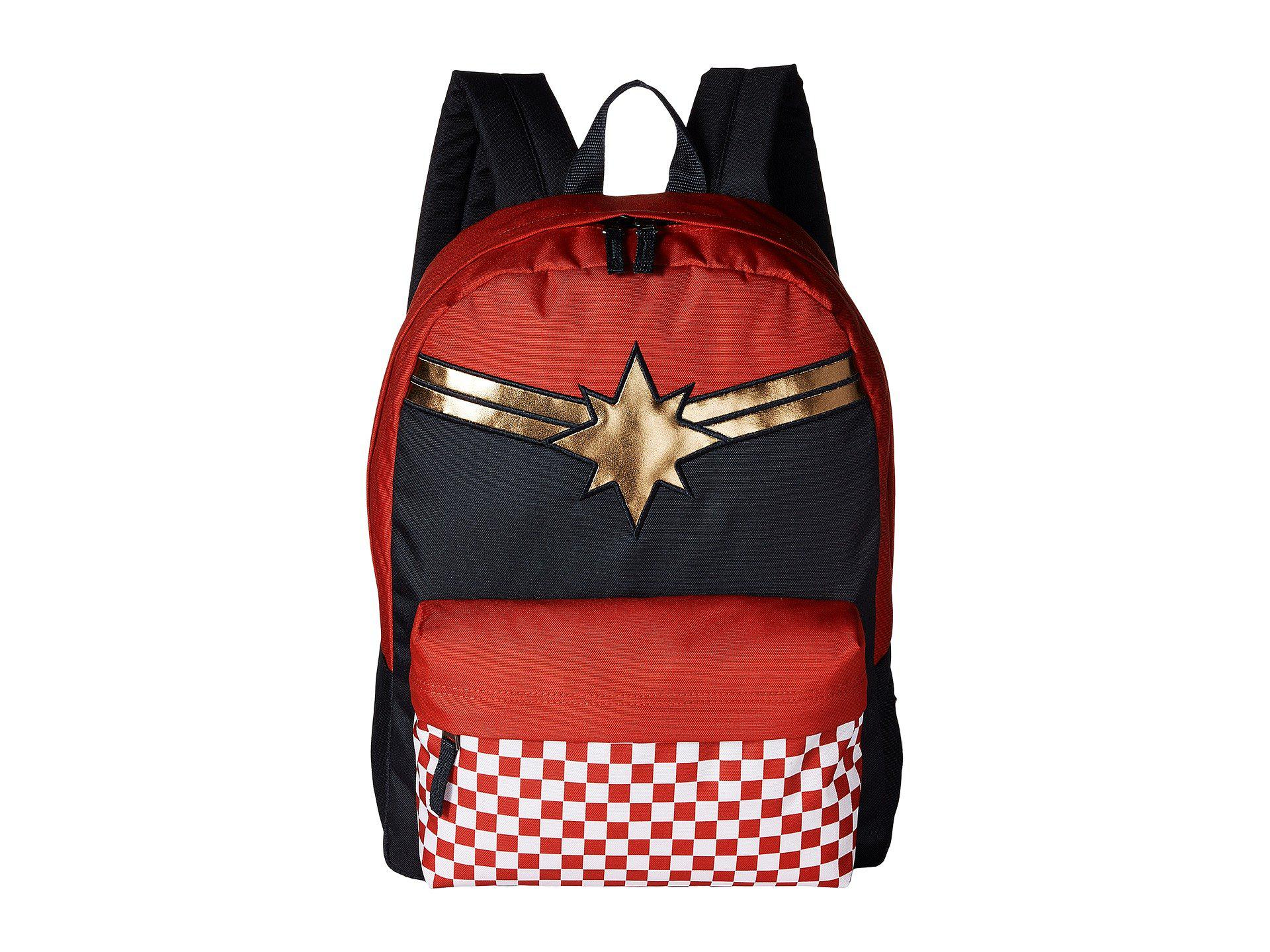 2529f0af1c52 Lyst - Vans Captain Marvel Realm Backpack (racing Red) Backpack Bags ...