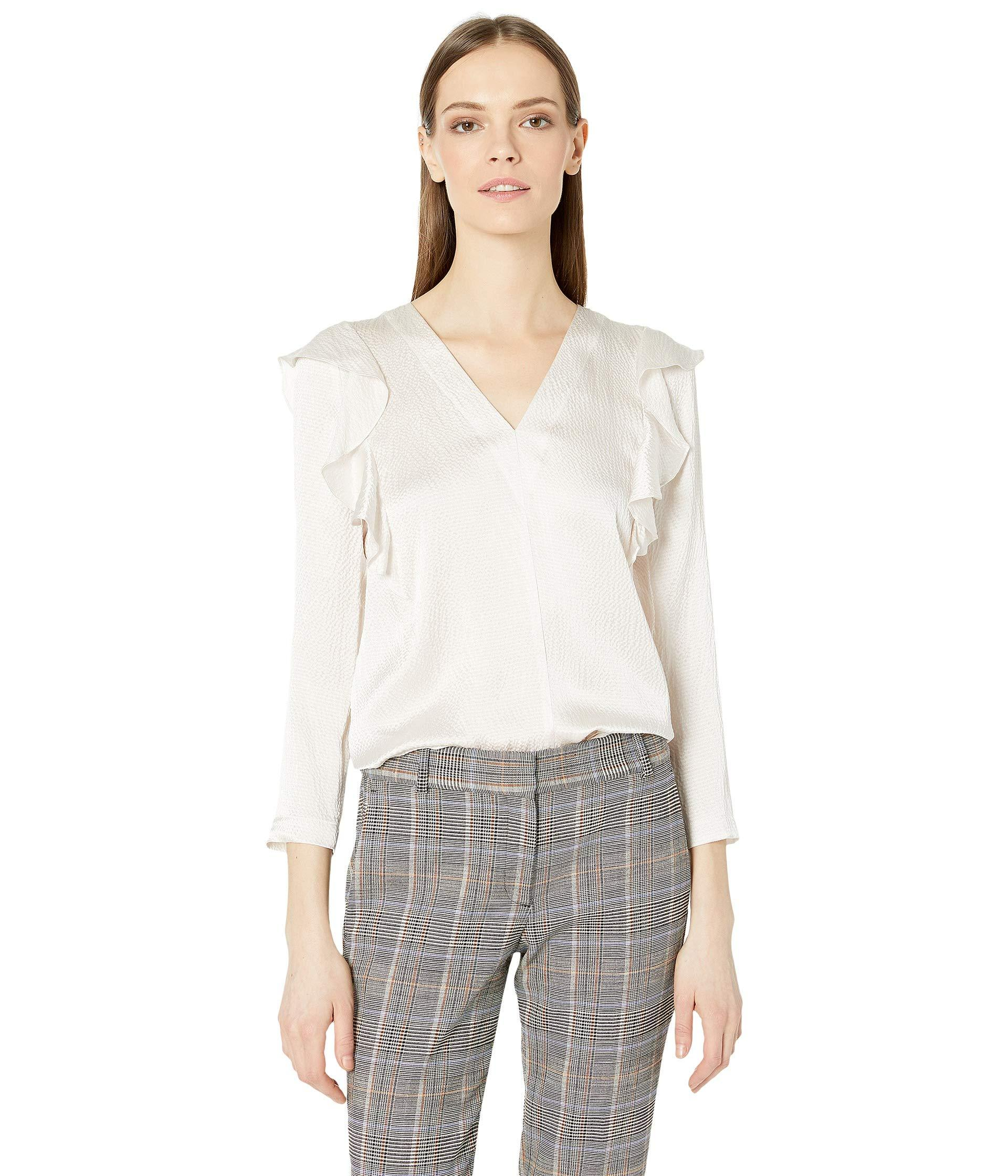 901476ae4e61b Rebecca Taylor. Natural Long Sleeve Silk Ruffle Top (antique Cream) Women s  Clothing