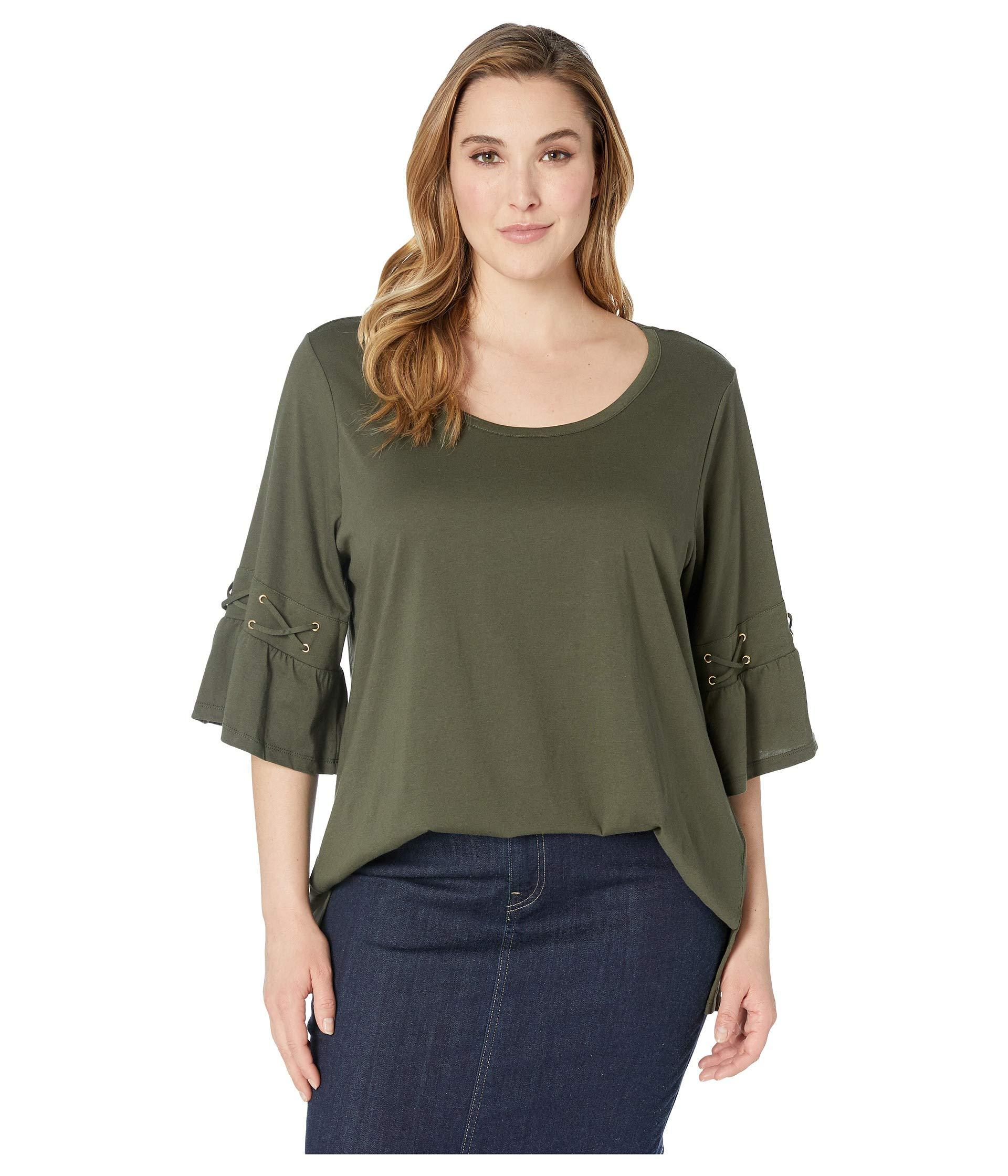 f485560bb32af Lyst - MICHAEL Michael Kors Plus Size Laced Sleeve Flare Tee (ivy ...