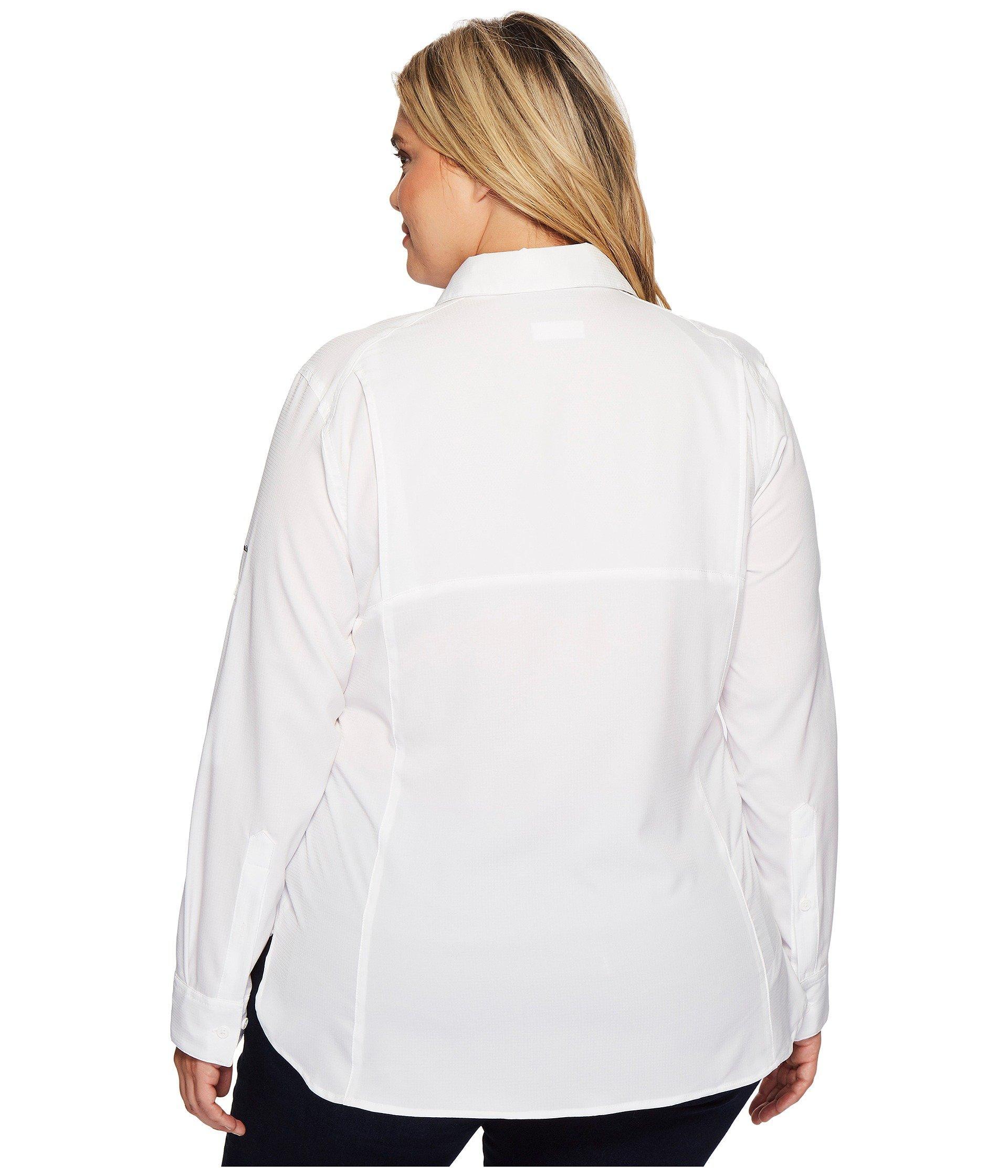 6feafdd2cbb Columbia - White Plus Size Silver Ridge Lite Long Sleeve Shirt (haute Pink)  Women s. View fullscreen