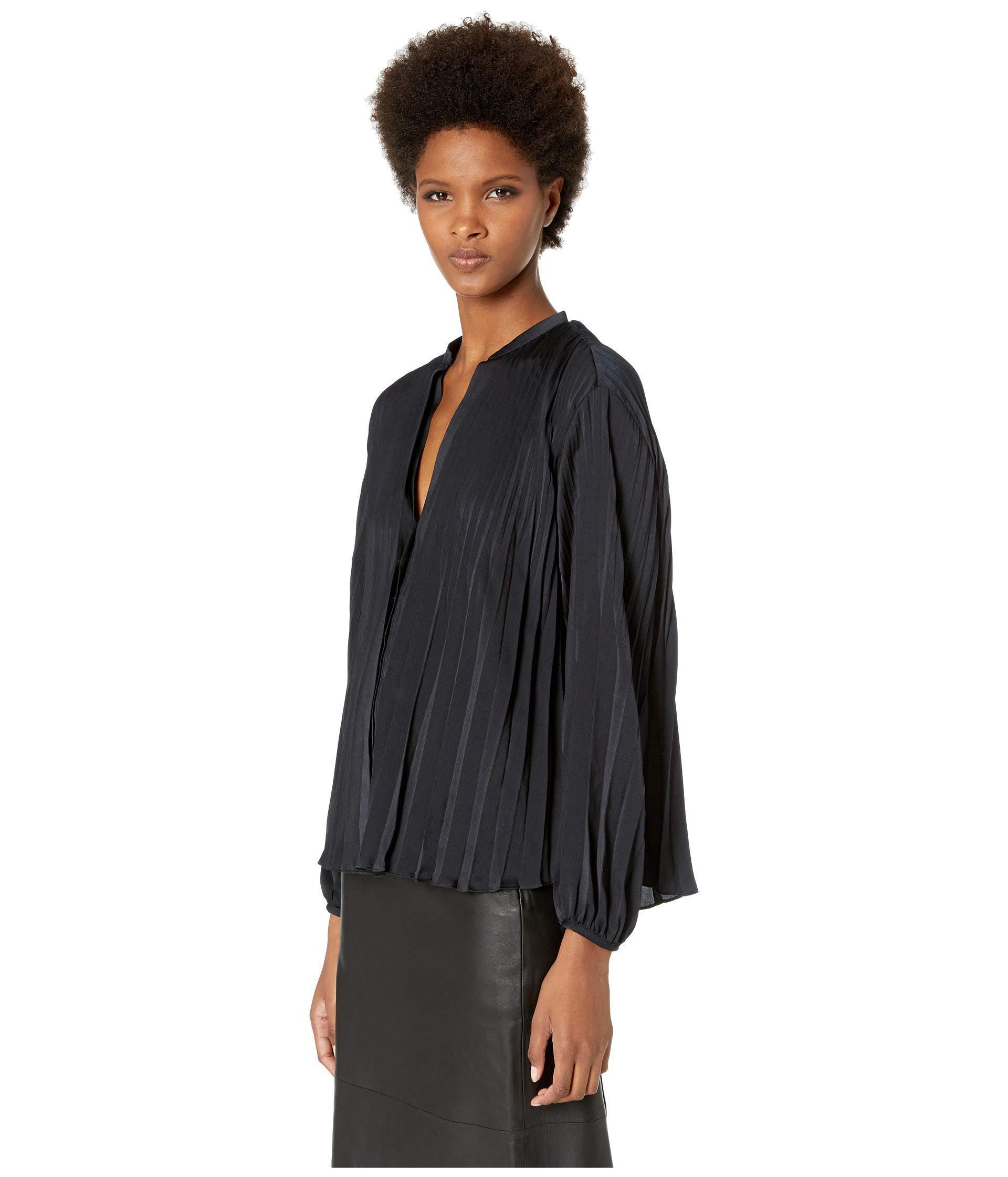 d7653ce801e06 Lyst - Vince Chevron Pleated Blouse (optic White) Women s Clothing in Black