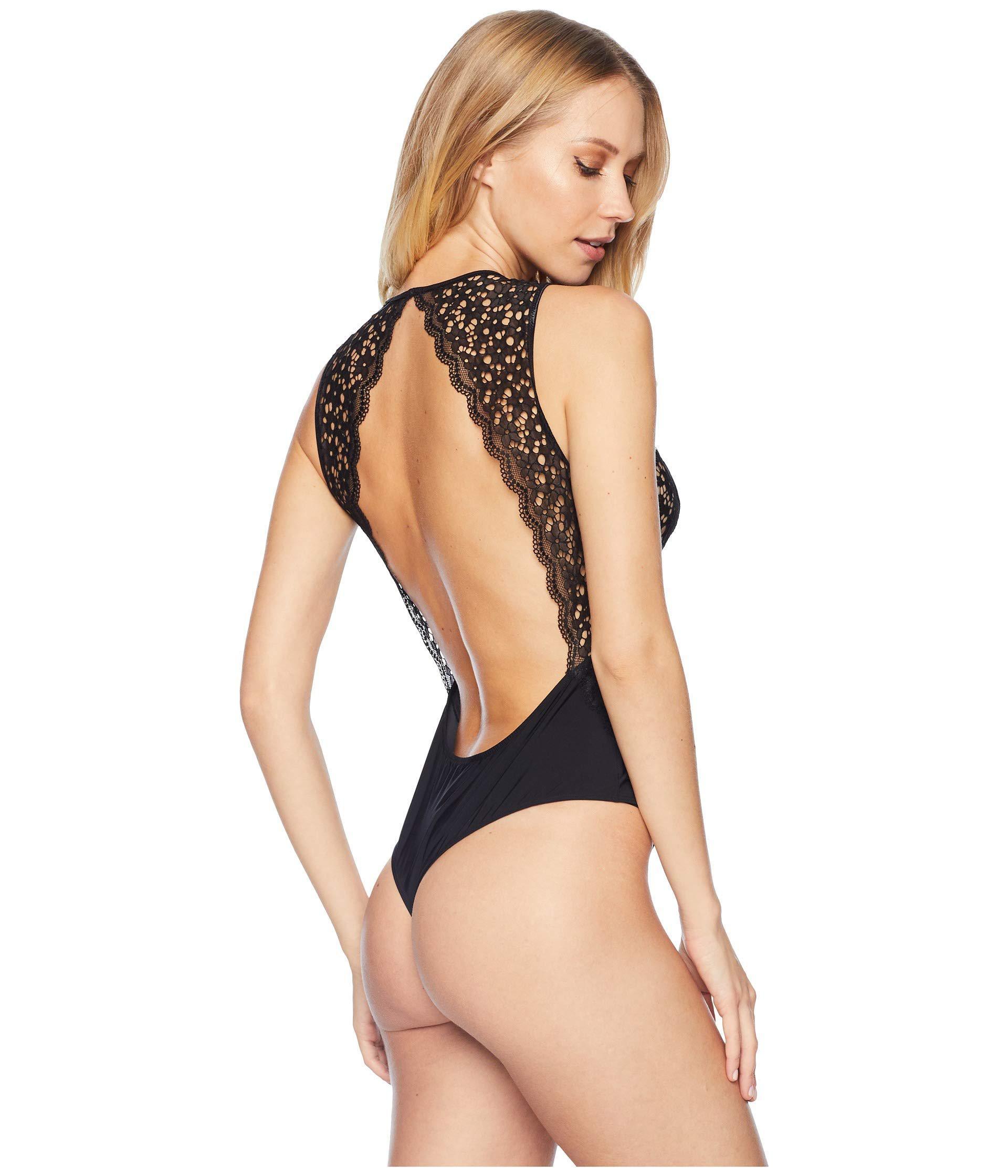 0c91602ffe Lyst - Felina Acacia Micro Bodysuit With Lace (black) Women s ...