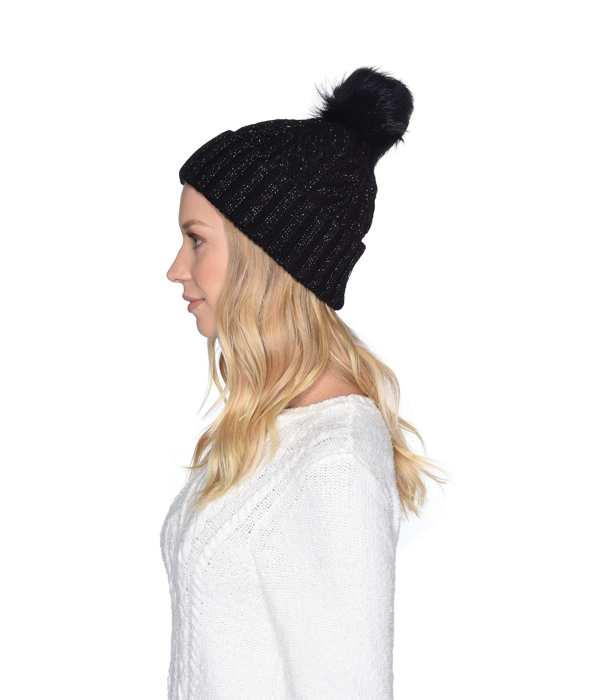 Lyst - UGG Cable Knit Pom Beanie (black Multi Metallic Plaited) Caps in  Black b89adcc985fe