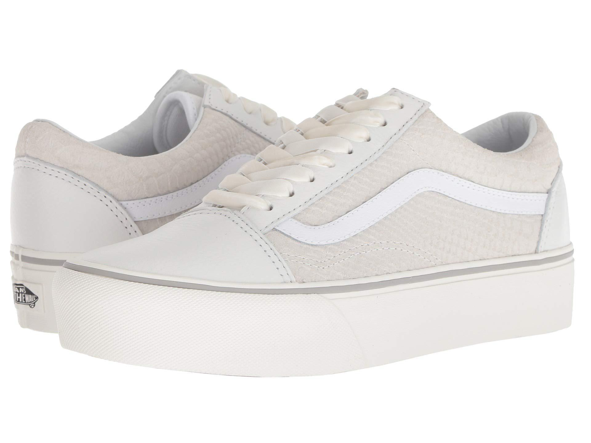 fe4c28309c8 Lyst - Vans Old Skool Platform ((leather) Snake white) Skate Shoes ...