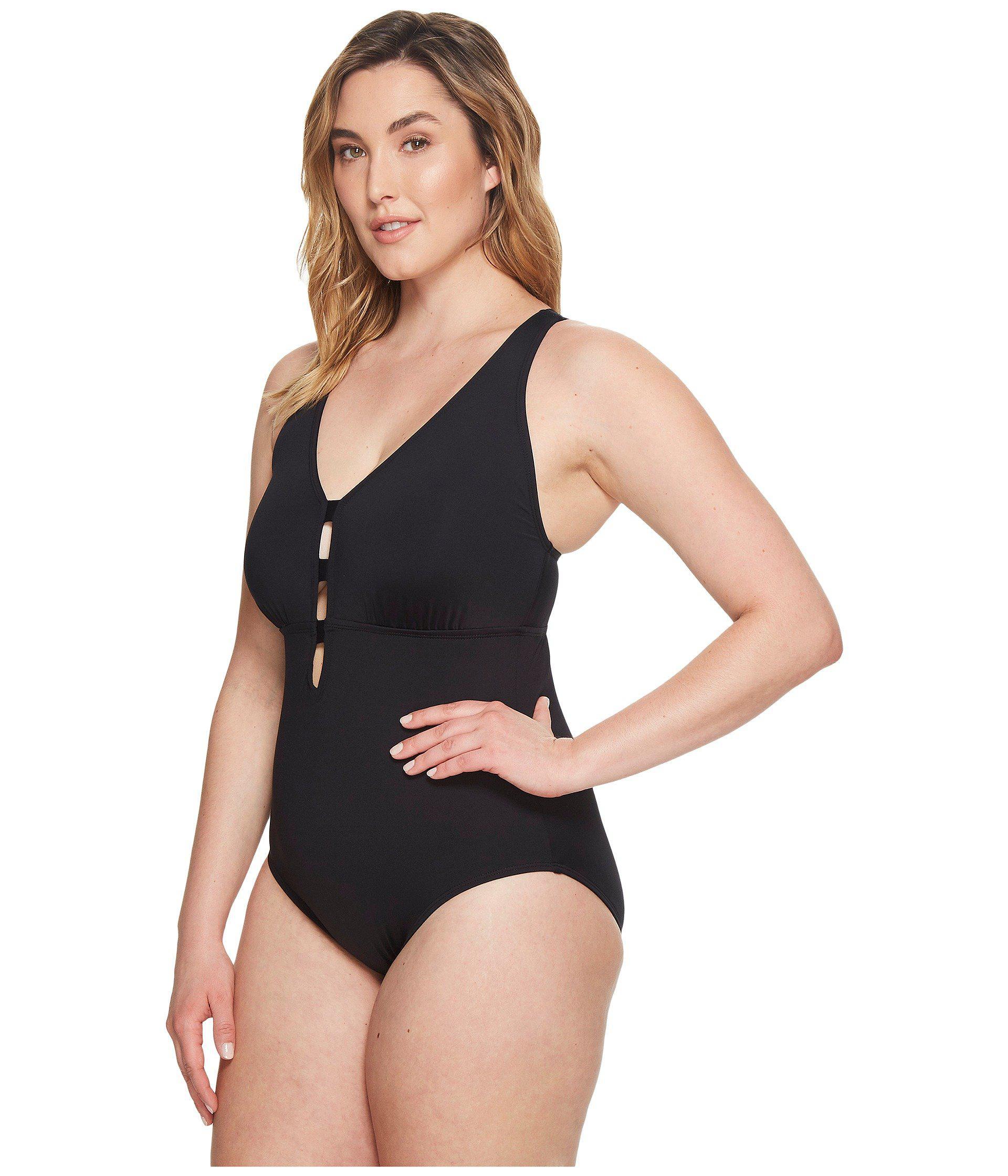 9cb763601815b Lyst - Lauren by Ralph Lauren Plus Size Beach Shaping Plunge One-piece ( black) Women s Swimsuits One Piece in Black