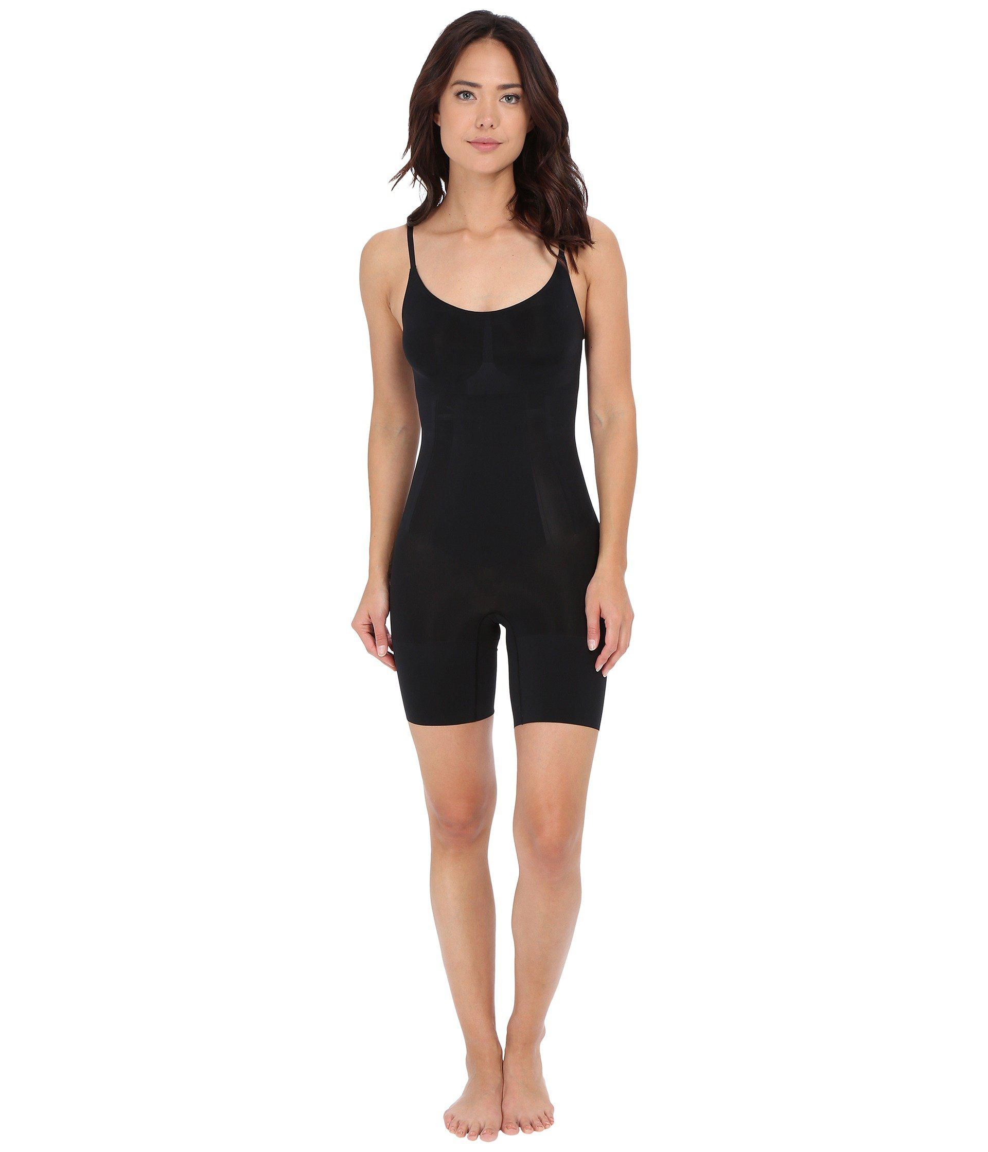 3bece9b177681 Lyst - Spanx Oncore Mid-thigh Bodysuit (very Black) Women s Jumpsuit ...