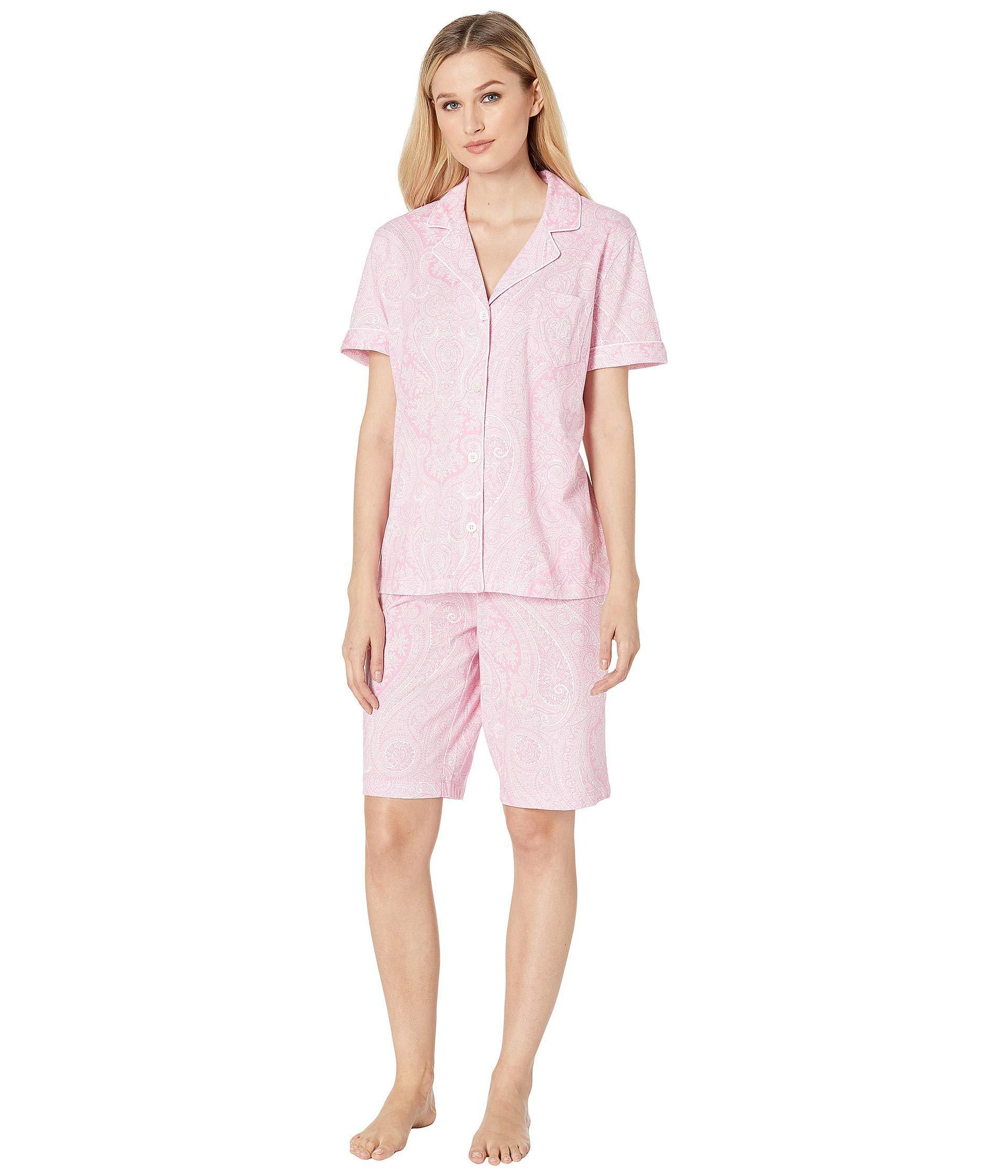 ea7896e3c7 Lyst - Lauren by Ralph Lauren Short Sleeve Notch Collar Bermuda Pj ...