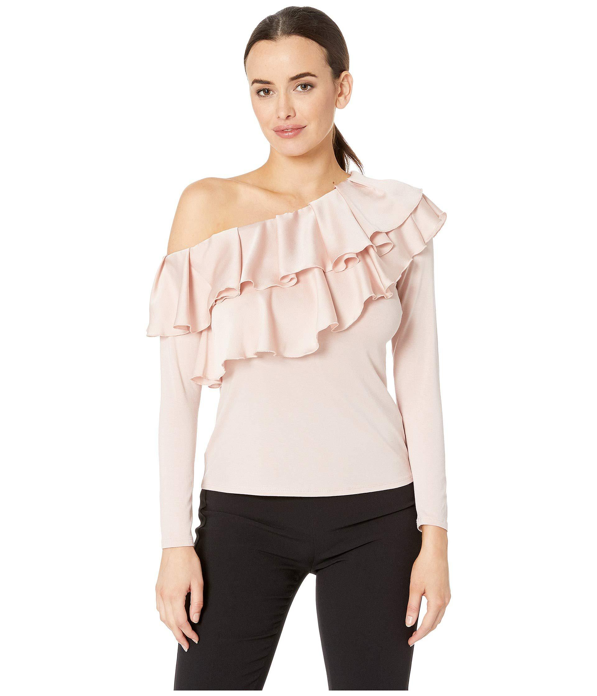 663cffd809589c Vince Camuto. Pink Long Sleeve Asymmetrical Tiered Ruffle Shoulder Mix  Media Top ...