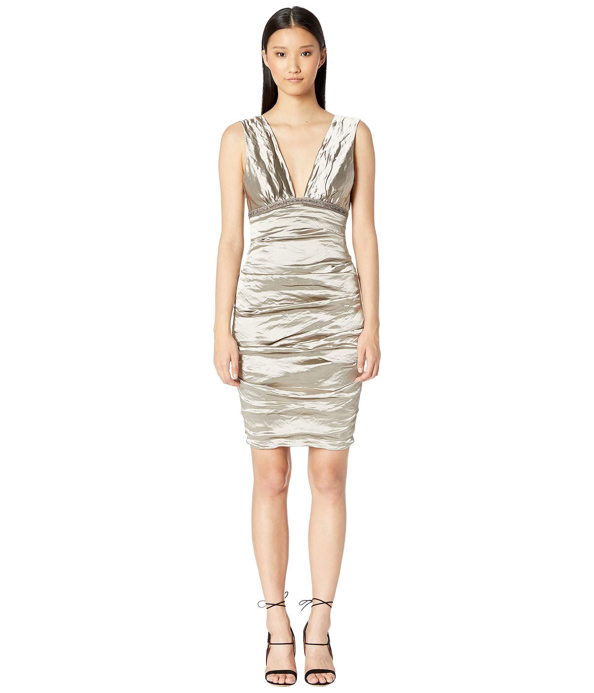 Lyst - Nicole Miller Techno Metal Plunge Dress (cava) Women s Dress 222a54d9a