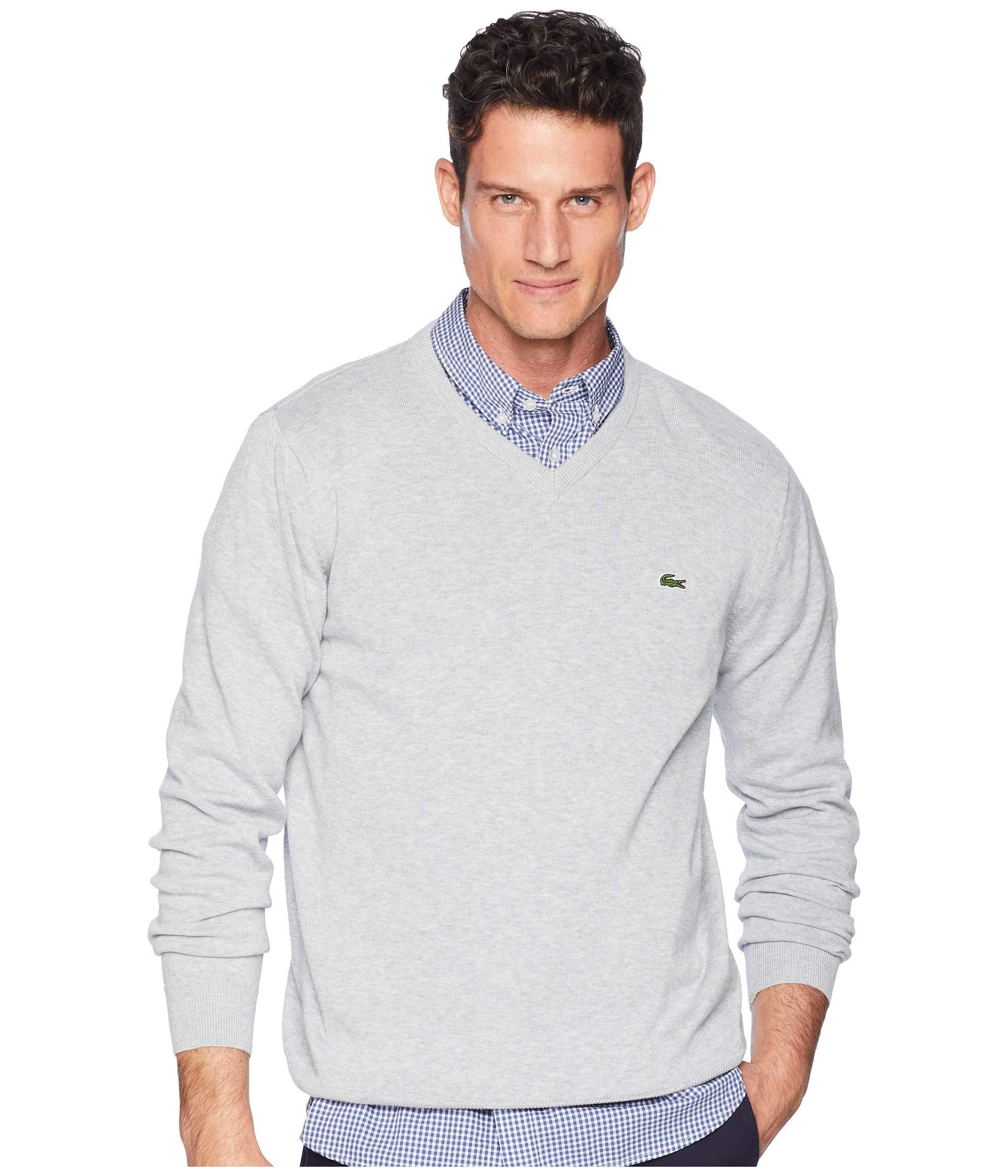 5cb3bce7948a Lyst - Lacoste Long Sleeve Half Moon V-neck Jersey Sweater (pluvier ...