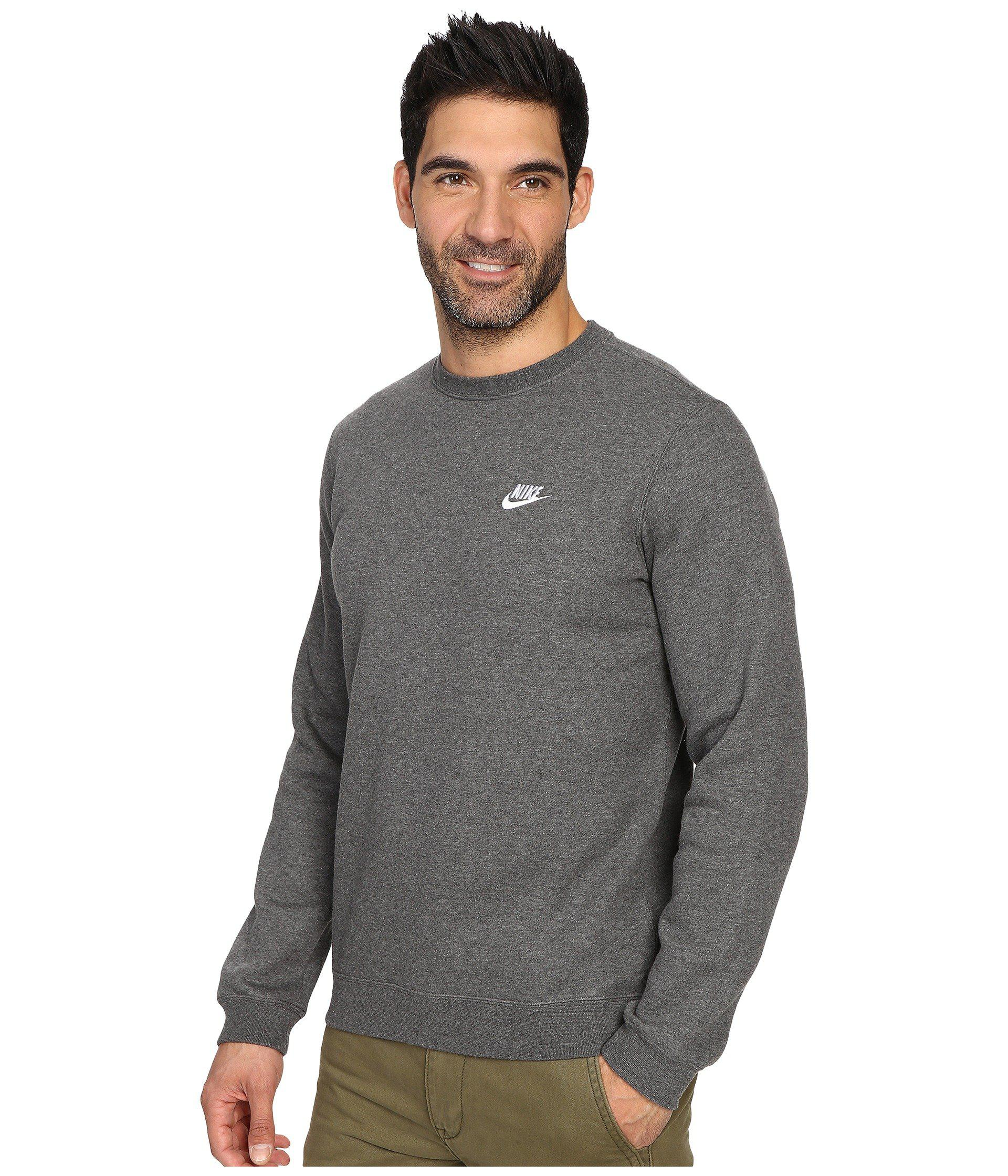 5efa28f3a476 Lyst - Nike Club Fleece Pullover Crew (black white) Men s Fleece for Men