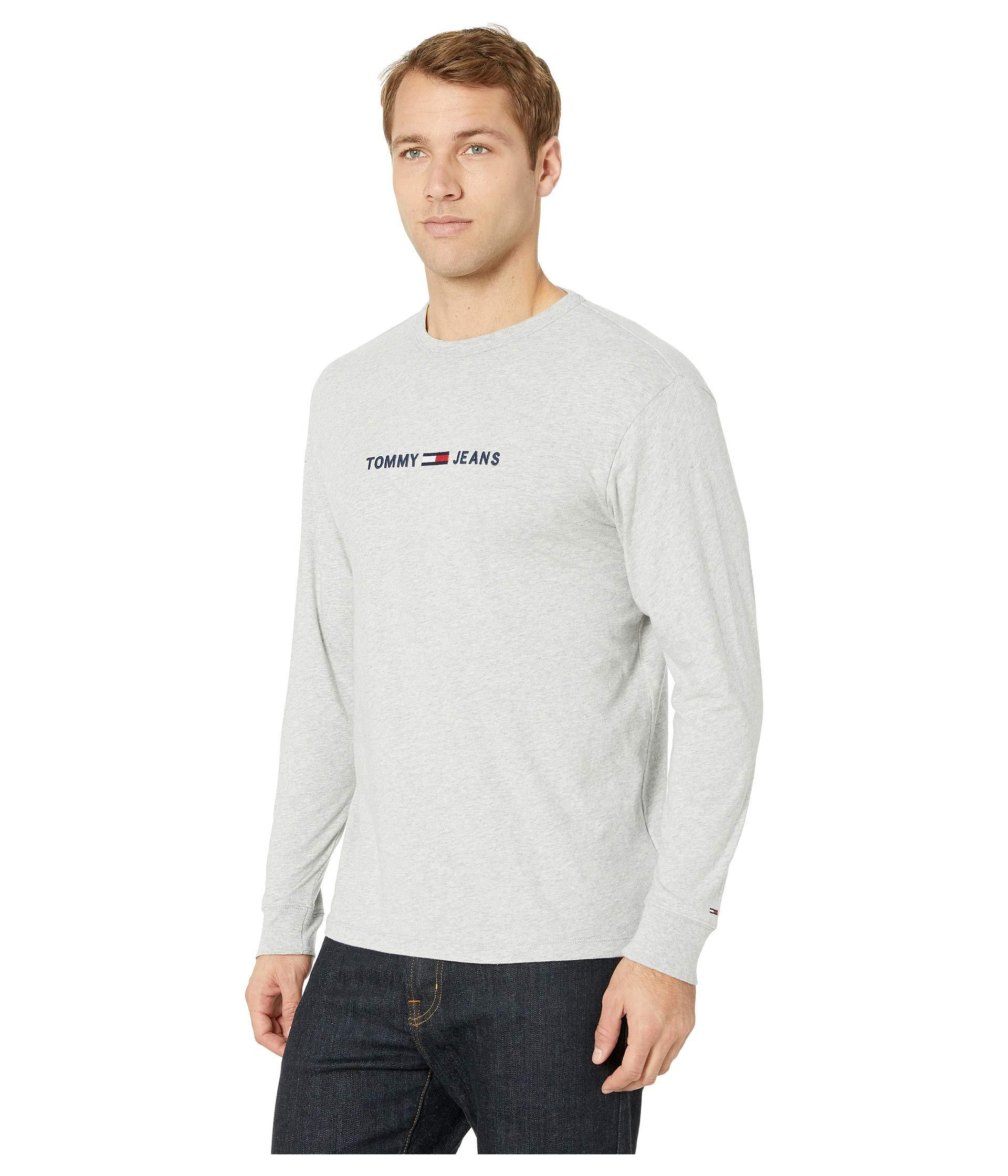 5d4ebba9 Lyst - Tommy Hilfiger Small Text Long Sleeve (light Grey Heather) Men's  Clothing in Gray for Men