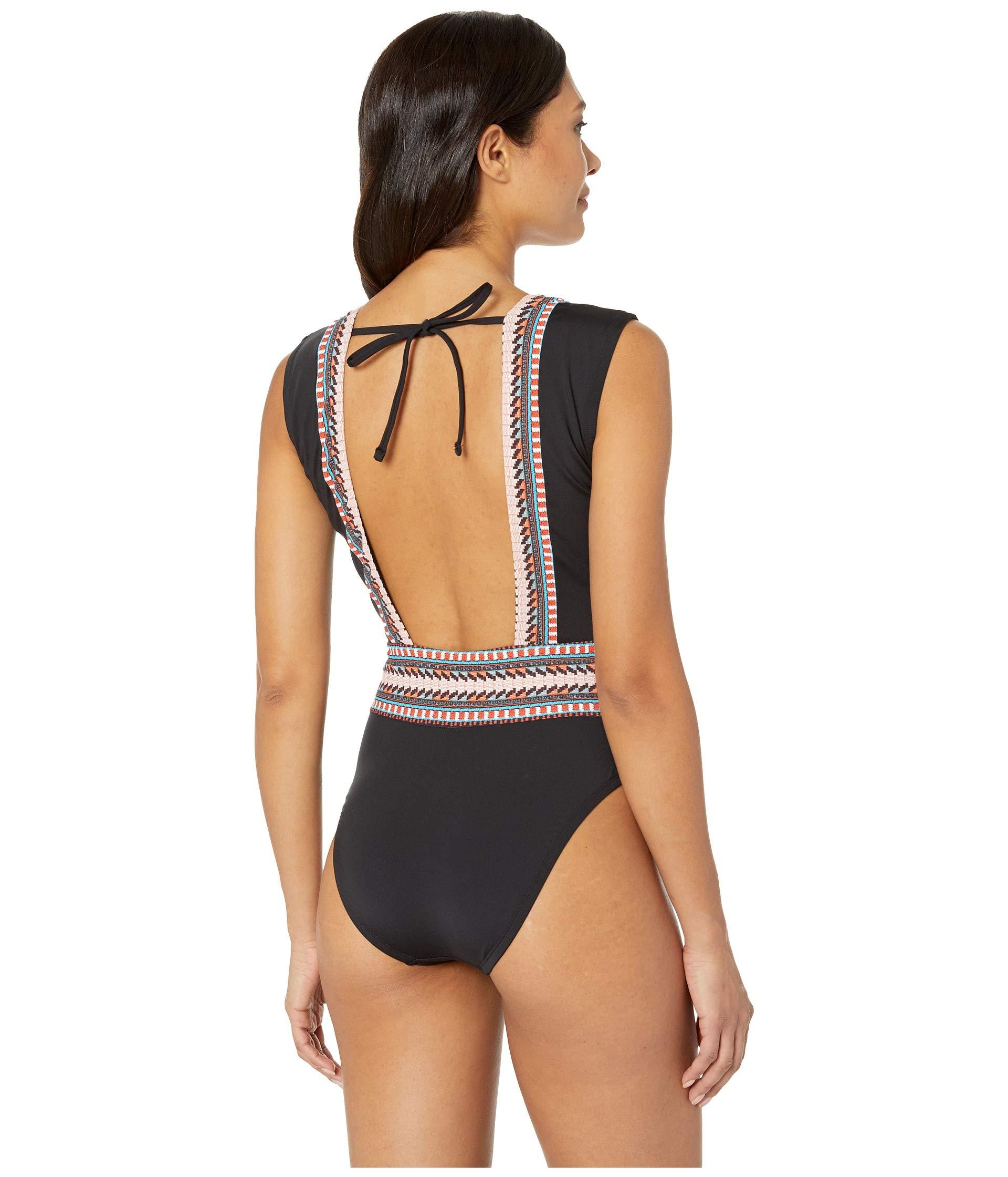 395a1b3db5ab9 Kenneth Cole - No Boundaries Belted Plunge Mio One-piece (black) Women's  Swimsuits. View fullscreen