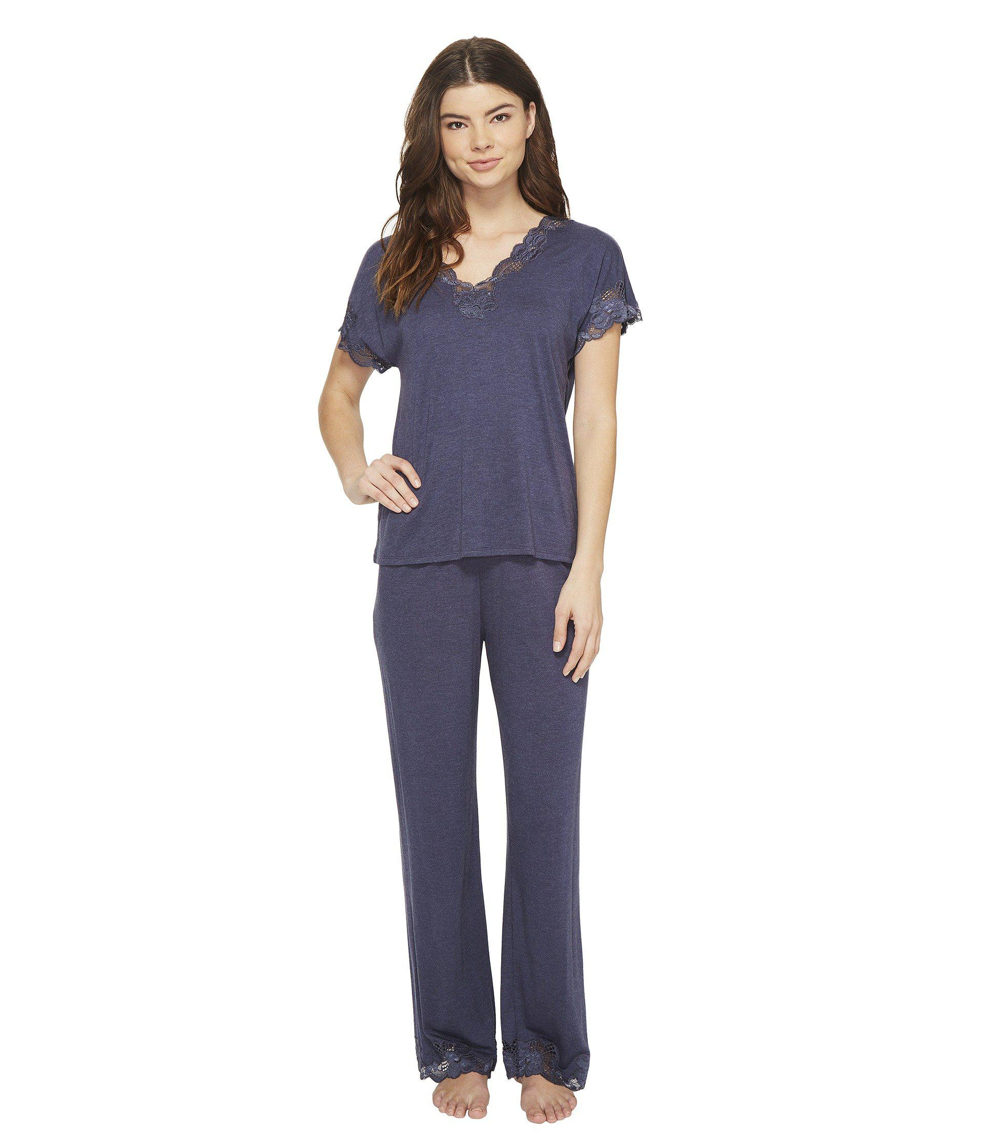 df268ffbd4e9 Lyst - Natori Zen Floral S s Pj (heather Night Blue) Women s Pajama ...
