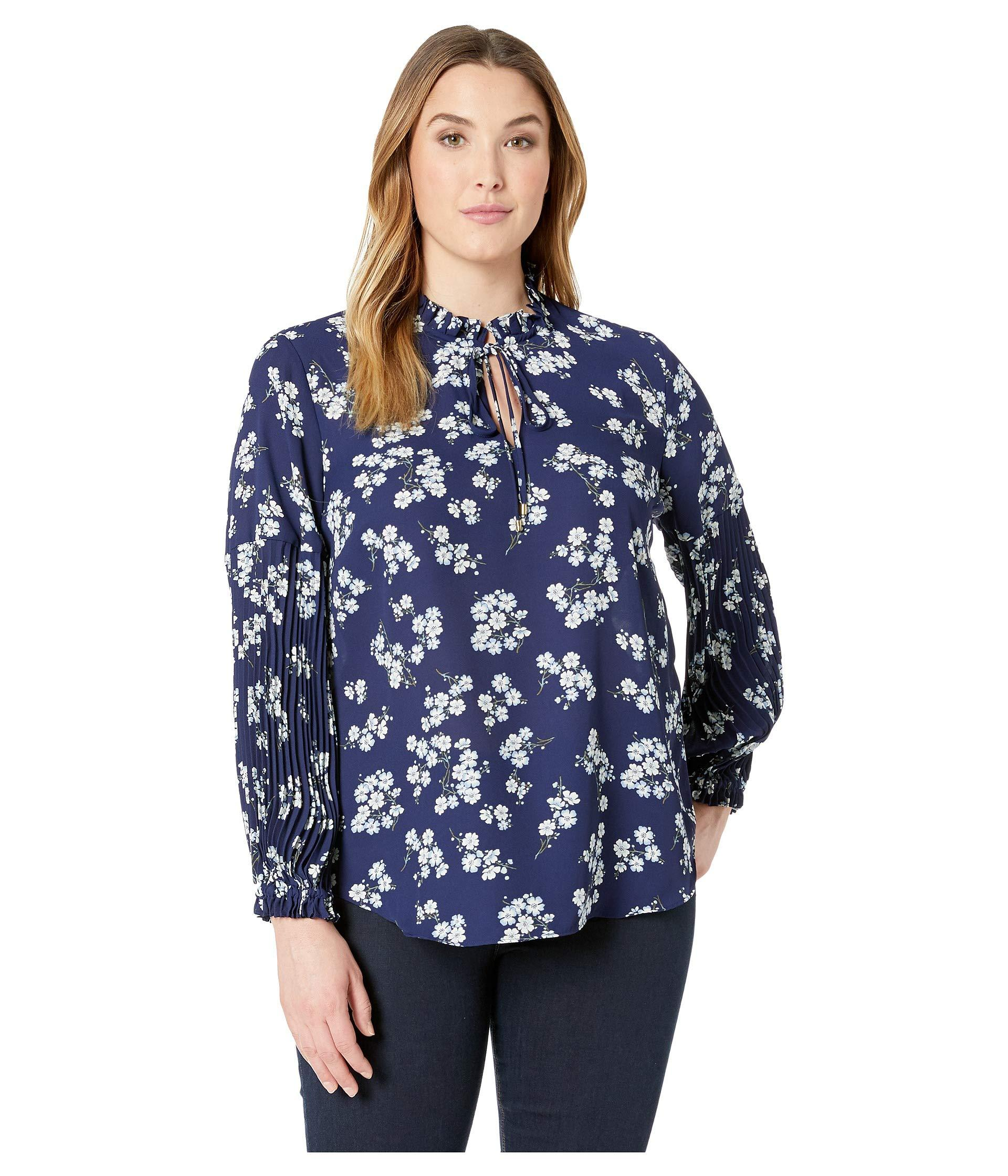 67db8f22568e7 Lauren by Ralph Lauren. Blue Plus Size Print Tie-neck Georgette Top  (twilight Royal) Women s Blouse