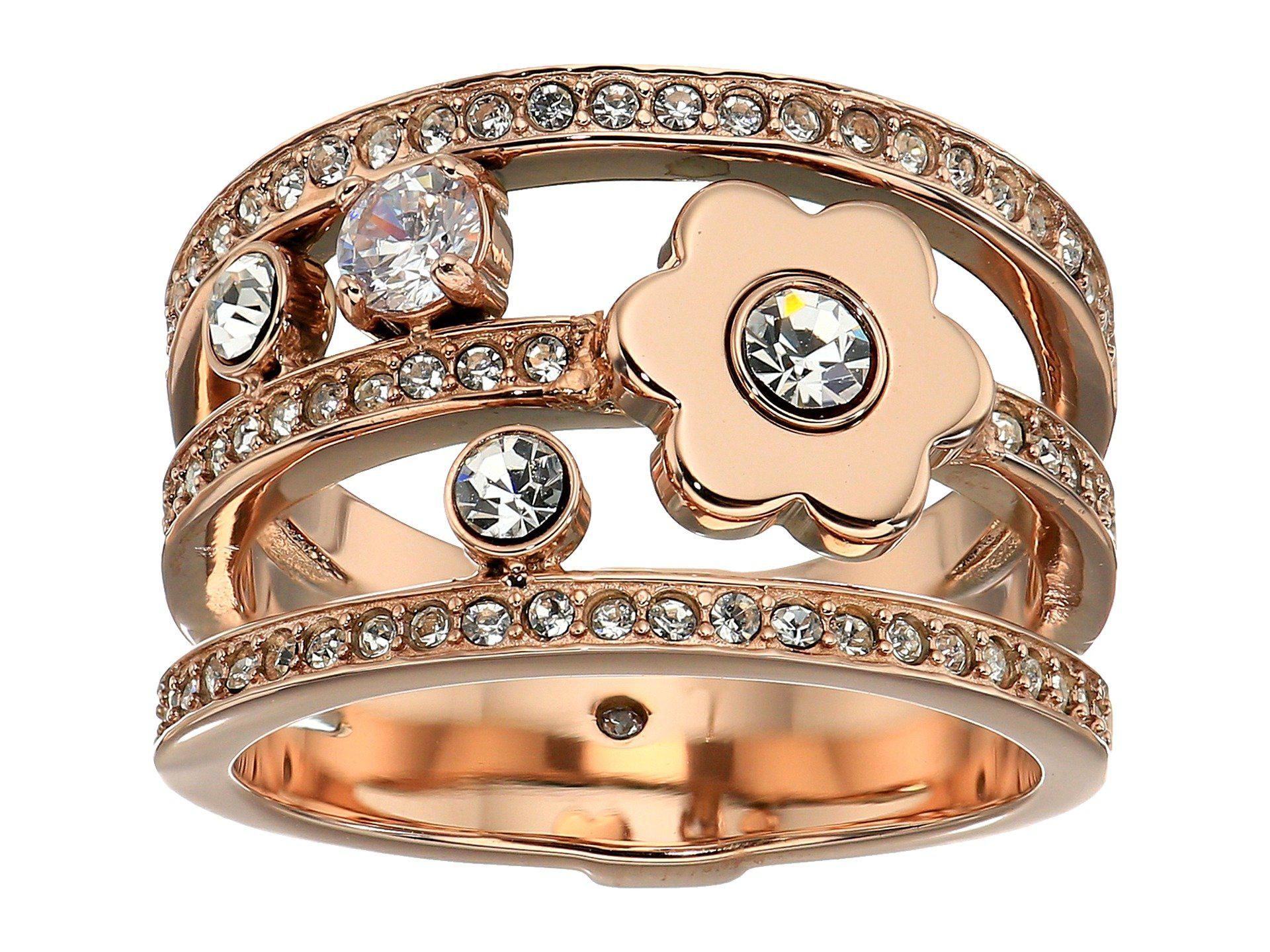 Michael Kors In Full Bloom Floral and Crystal Accent Stacked Ring (Gold) Ring 3pspcFh