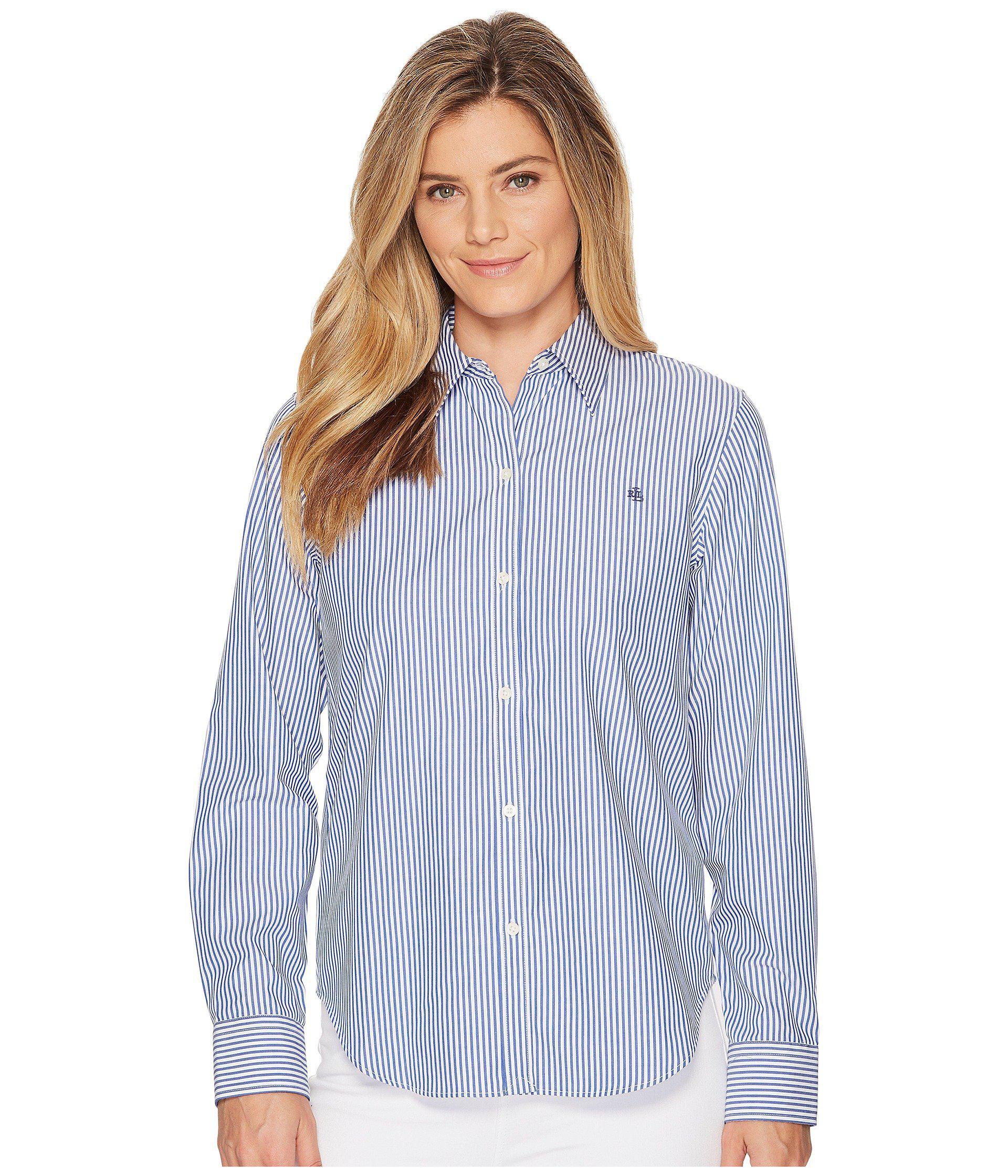72e69ca5753 Lyst - Lauren by Ralph Lauren Plus Size Striped Cotton Shirt (blue ...